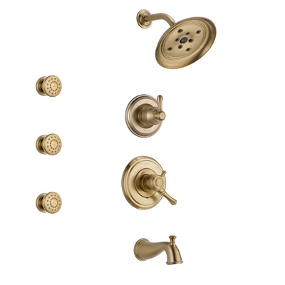 Delta Cassidy Champagne Bronze Finish Tub and Shower System with Dual Control Handle, 3-Setting Diverter, Showerhead, and 3 Body Sprays SS17497CZ1