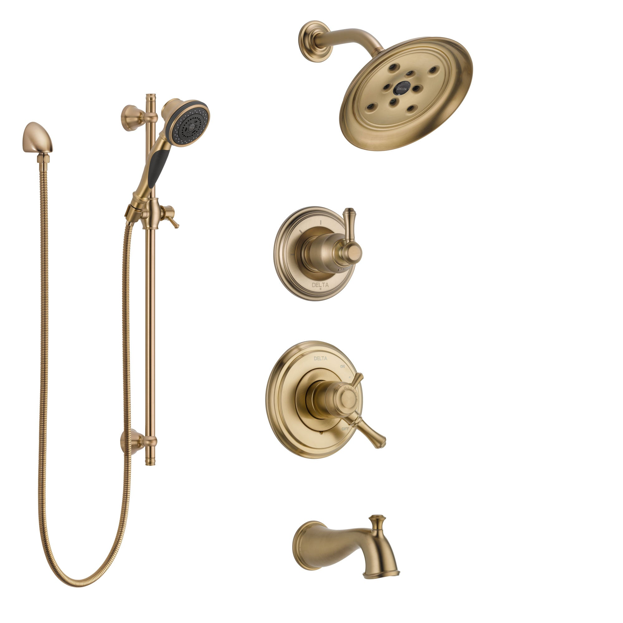 Delta Cassidy Champagne Bronze Tub and Shower System with Dual ...