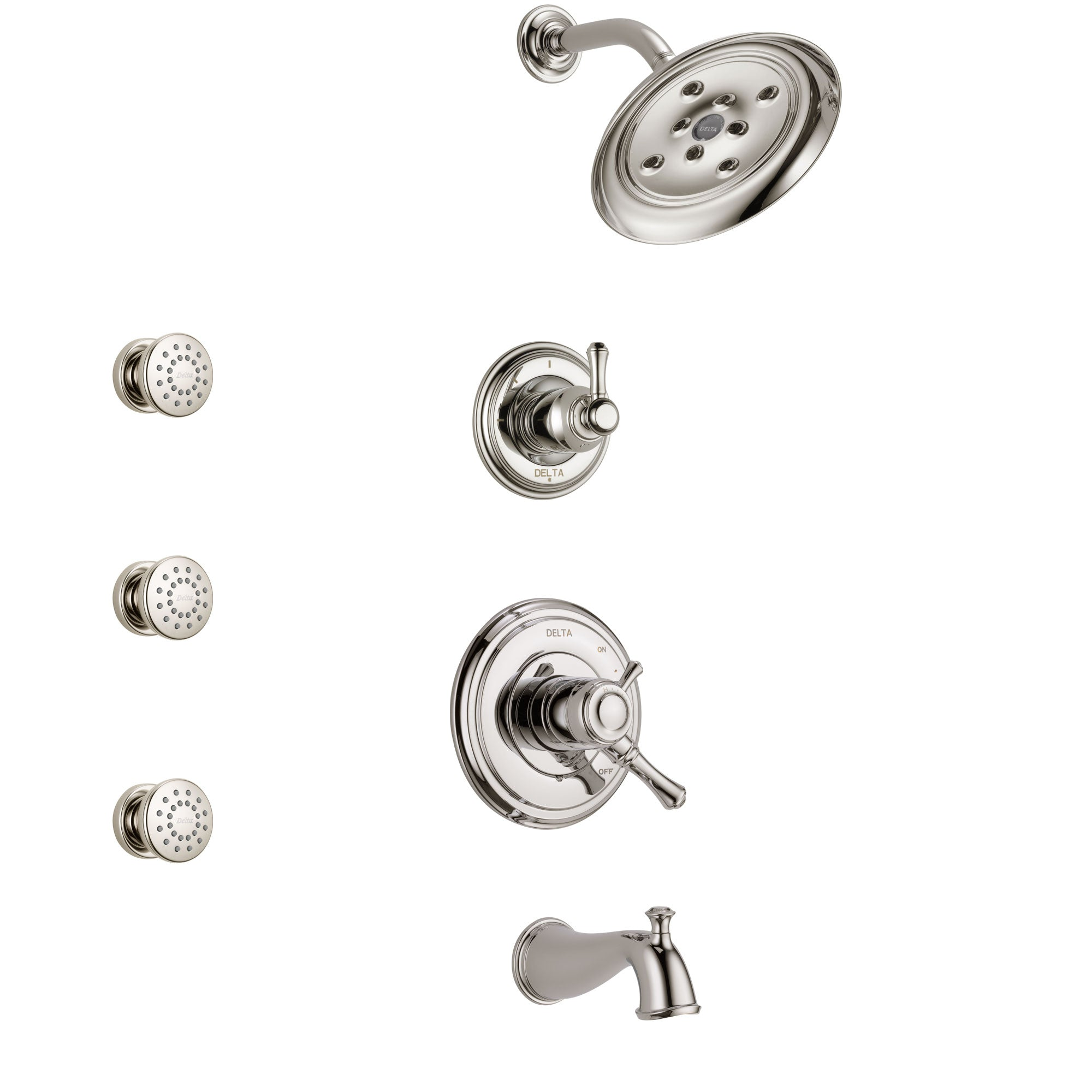 Delta Cassidy Polished Nickel Finish Tub and Shower System with Dual Control Handle, 3-Setting Diverter, Showerhead, and 3 Body Sprays SS17497PN1