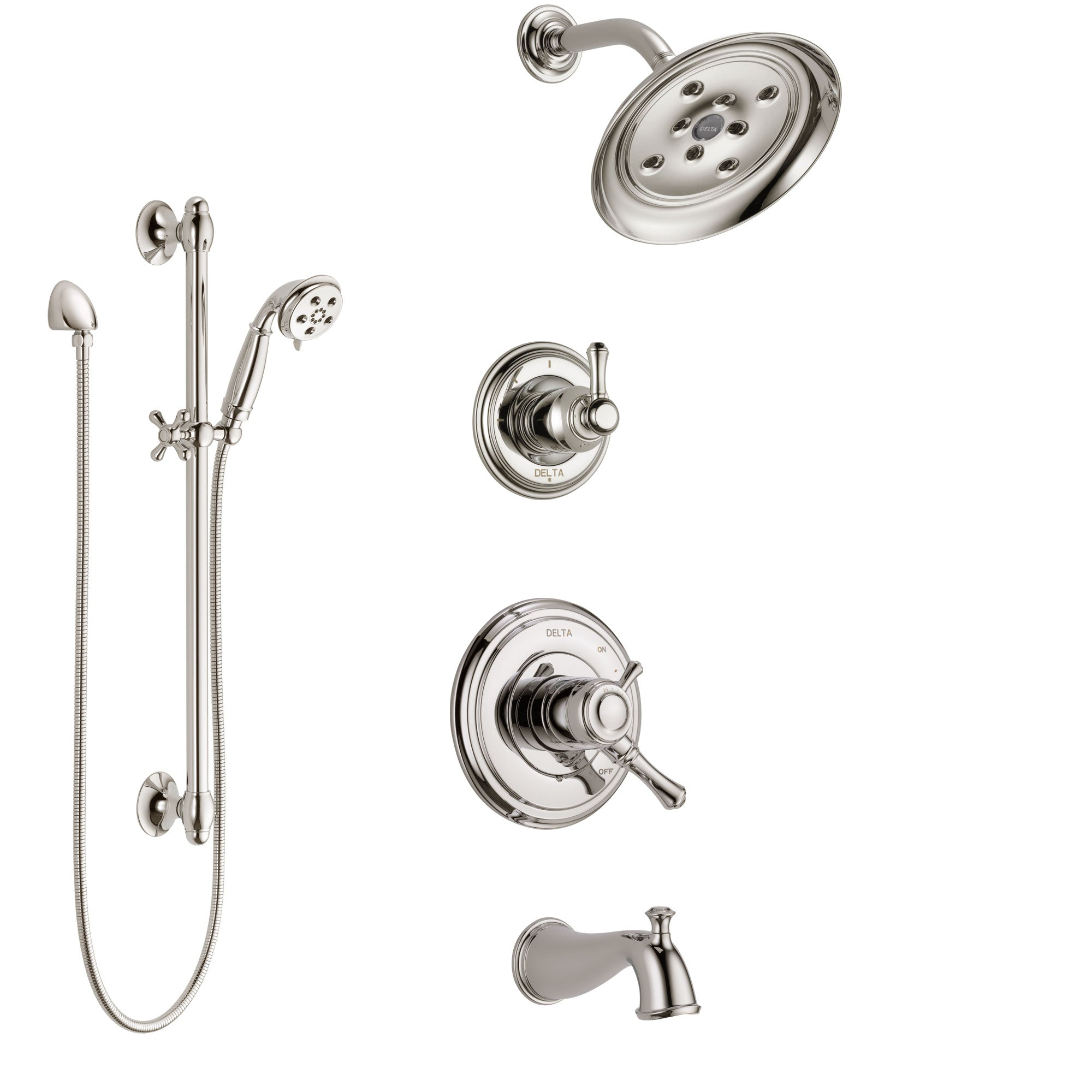Delta Cassidy Polished Nickel Tub and Shower System with Dual Control Handle, 3-Setting Diverter, Showerhead, and Hand Shower with Slidebar SS17497PN2
