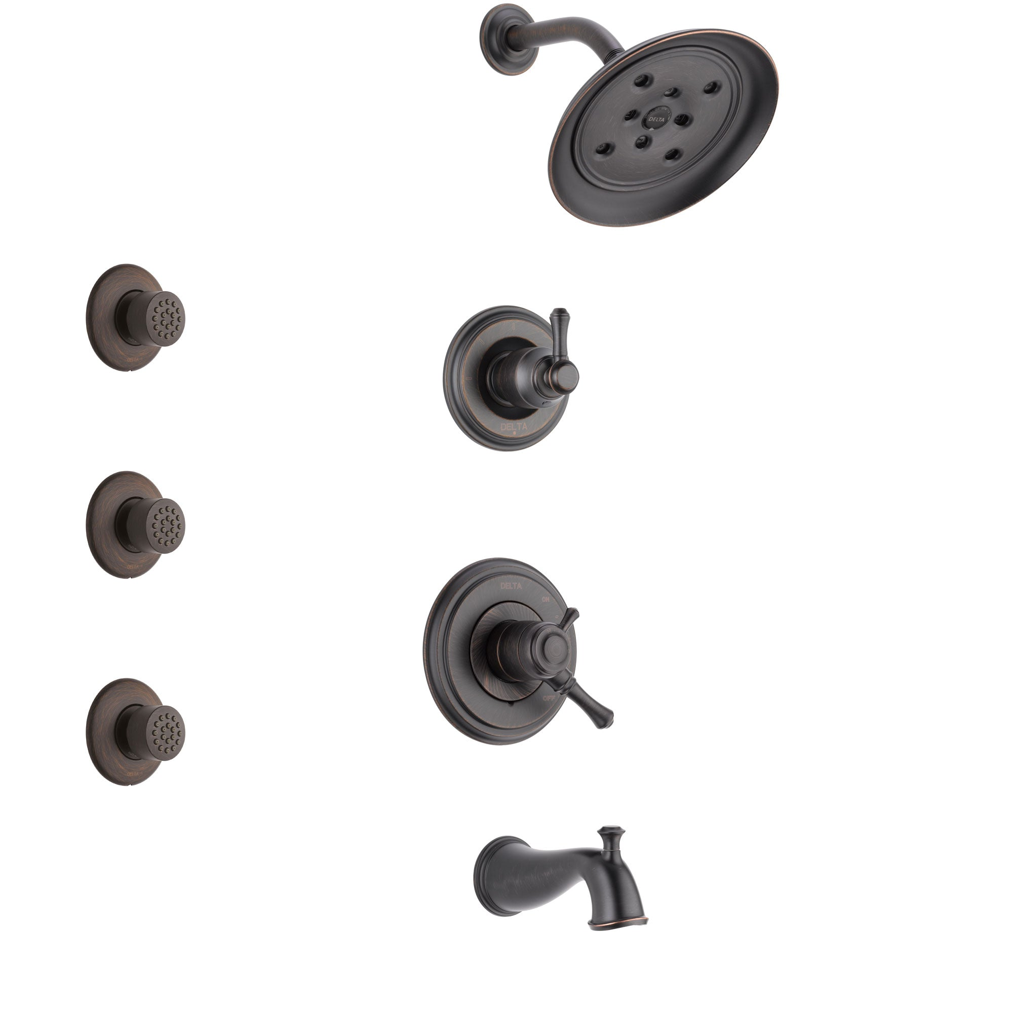 Delta Cassidy Venetian Bronze Finish Tub and Shower System with Dual Control Handle, 3-Setting Diverter, Showerhead, and 3 Body Sprays SS17497RB1