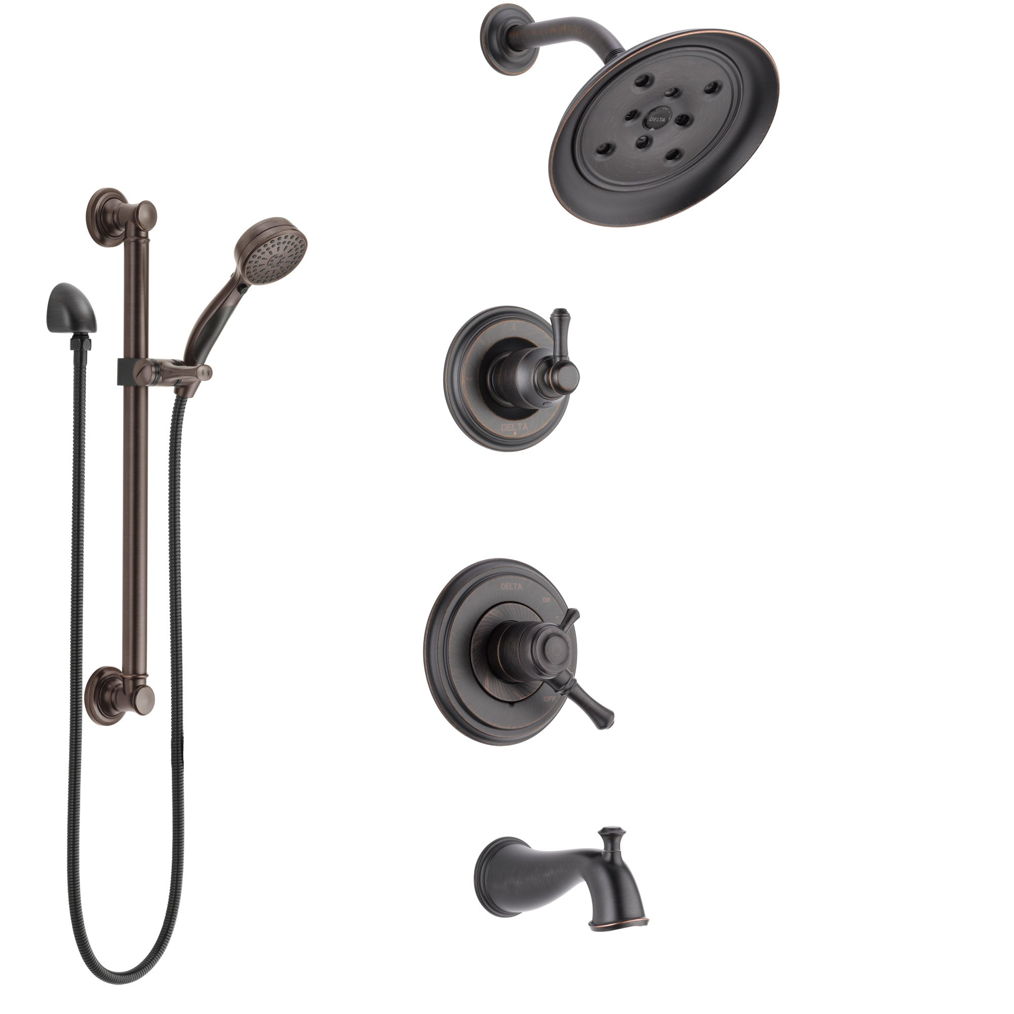 Delta Cassidy Venetian Bronze Tub and Shower System with Dual Control Handle, 3-Setting Diverter, Showerhead, and Hand Shower with Grab Bar SS17497RB3