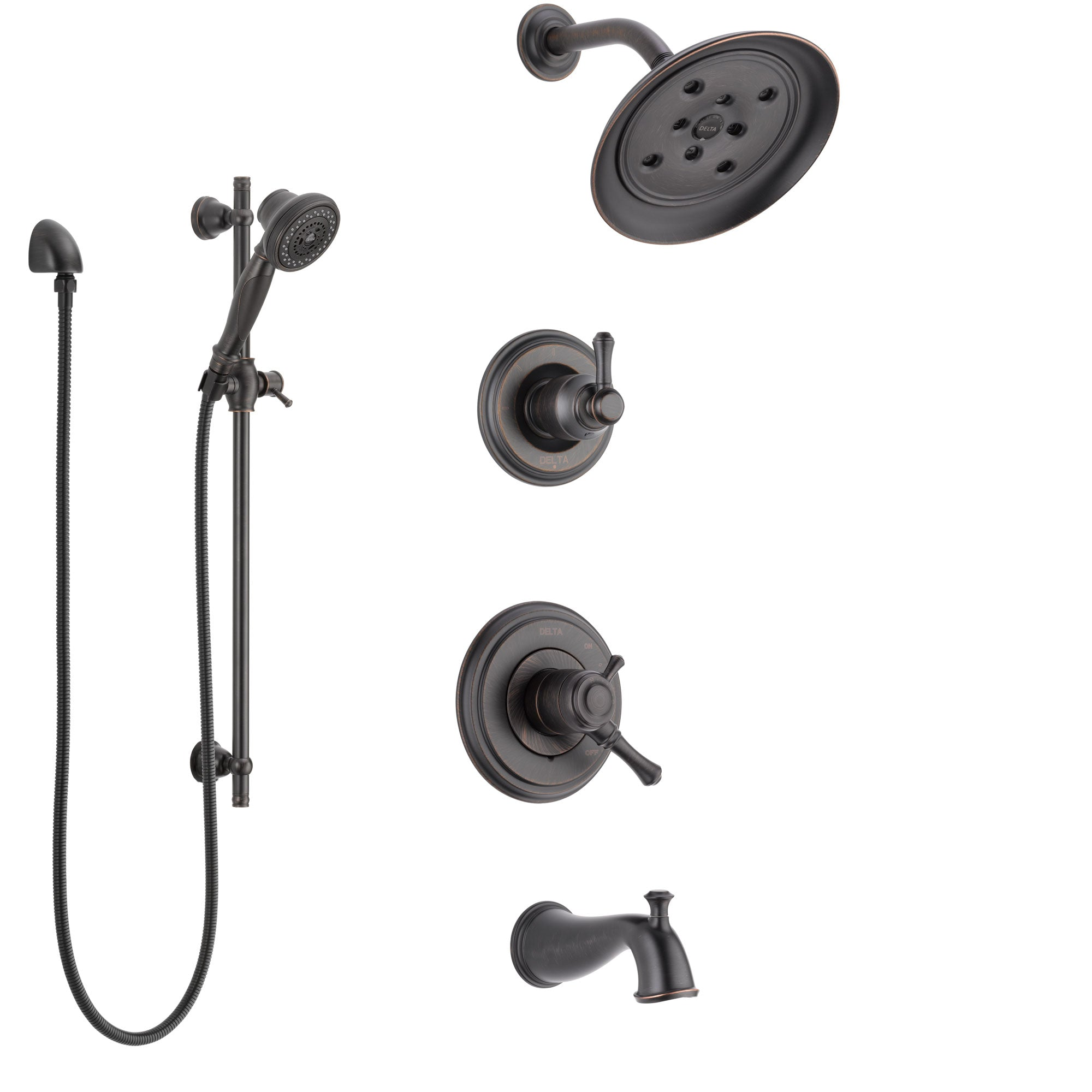 Delta Cassidy Venetian Bronze Tub and Shower System with Dual Control Handle, 3-Setting Diverter, Showerhead, and Hand Shower with Slidebar SS17497RB5