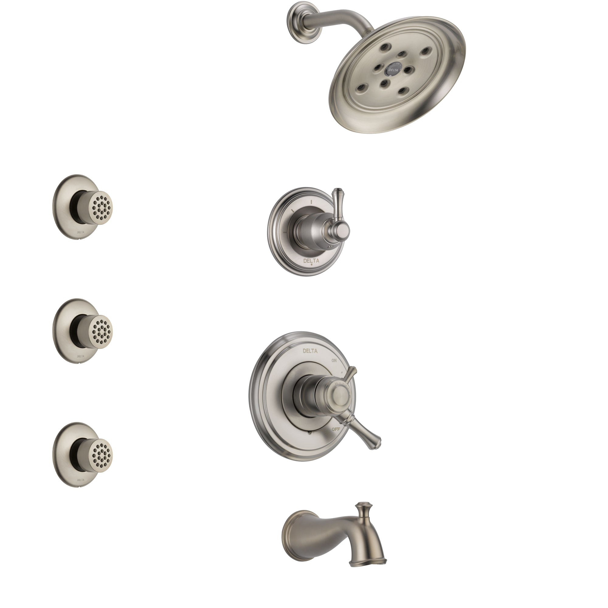 Delta Cassidy Stainless Steel Finish Tub and Shower System with Dual Control Handle, 3-Setting Diverter, Showerhead, and 3 Body Sprays SS17497SS2