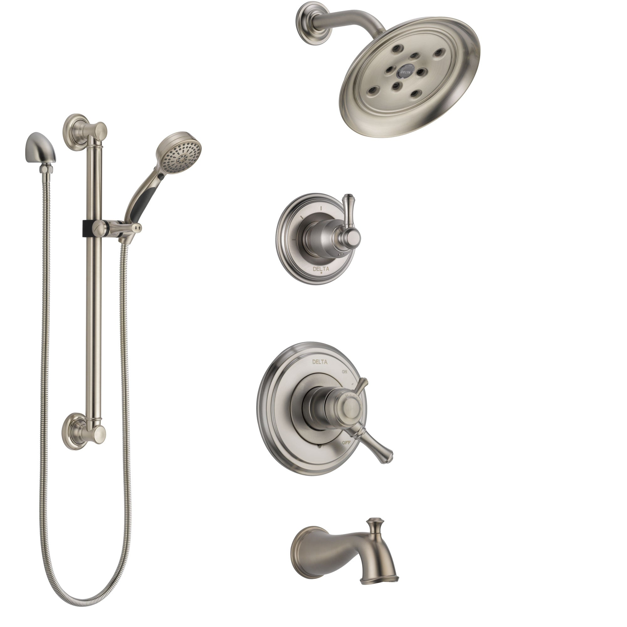 Delta Cassidy Stainless Steel Finish Tub and Shower System with Dual Control Handle, Diverter, Showerhead, and Hand Shower with Grab Bar SS17497SS3