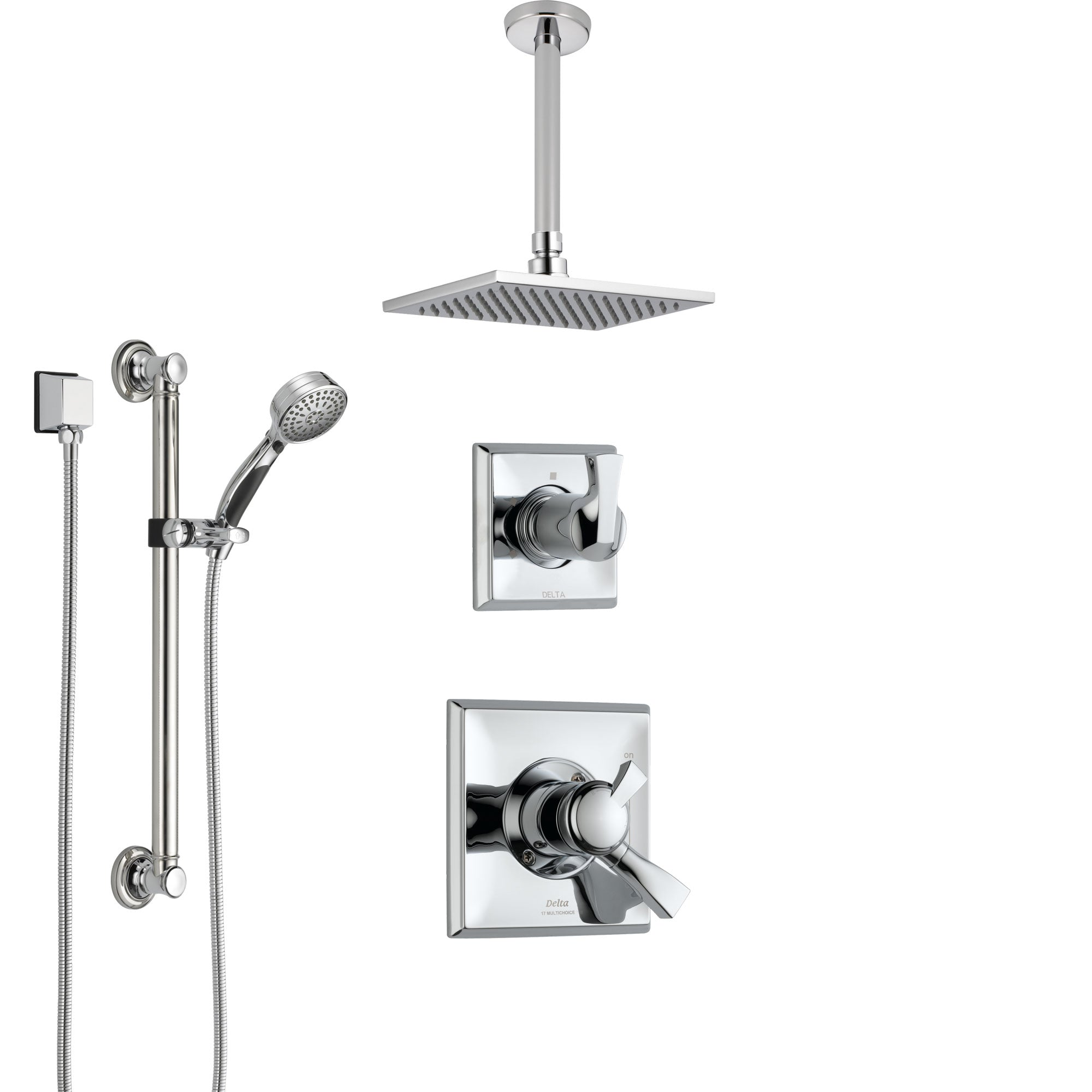 Delta Dryden Chrome Finish Shower System with Dual Control Handle, 3-Setting Diverter, Ceiling Mount Showerhead, and Hand Shower with Grab Bar SS17511
