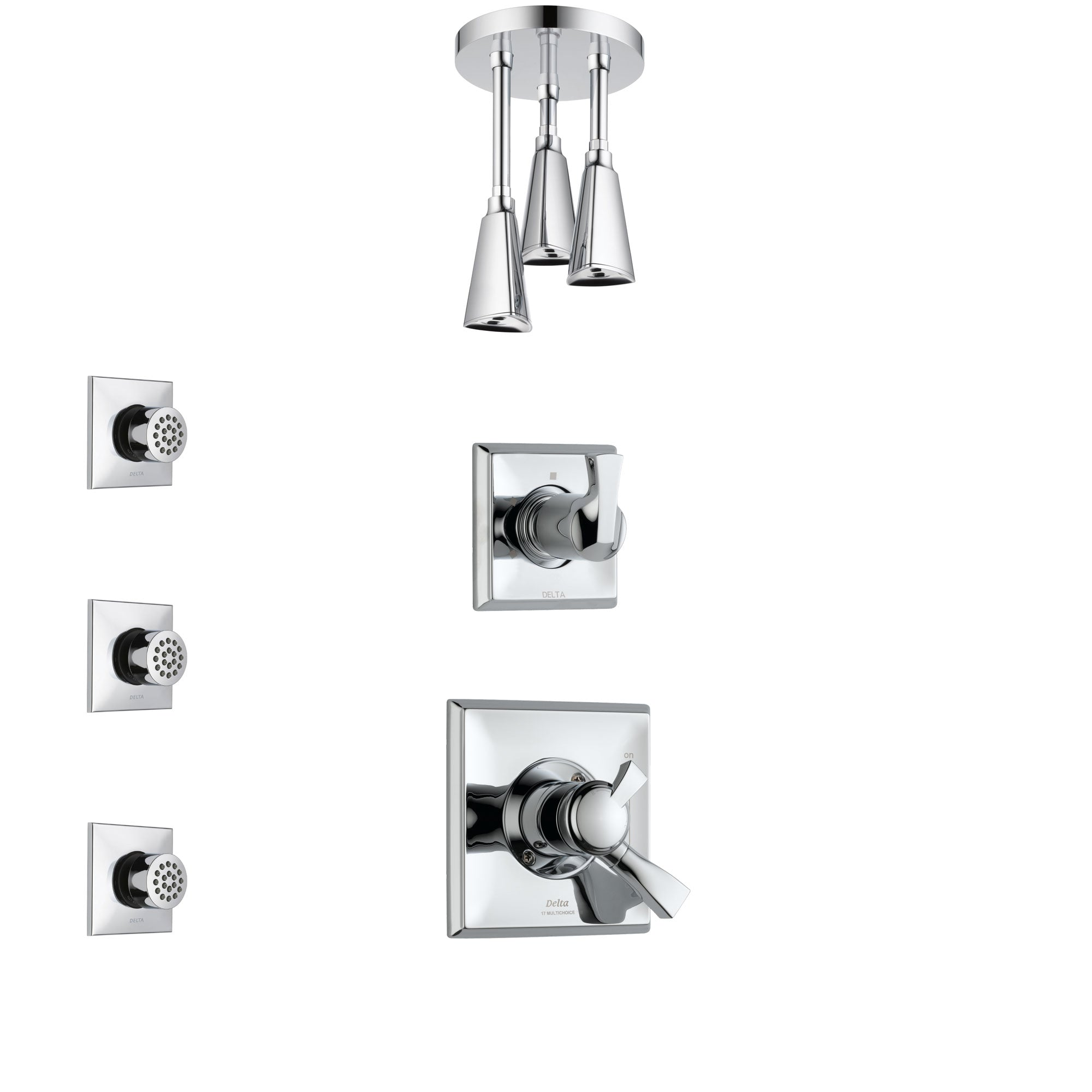 Delta Dryden Chrome Finish Shower System with Dual Control Handle, 3-Setting Diverter, Ceiling Mount Showerhead, and 3 Body Sprays SS17513