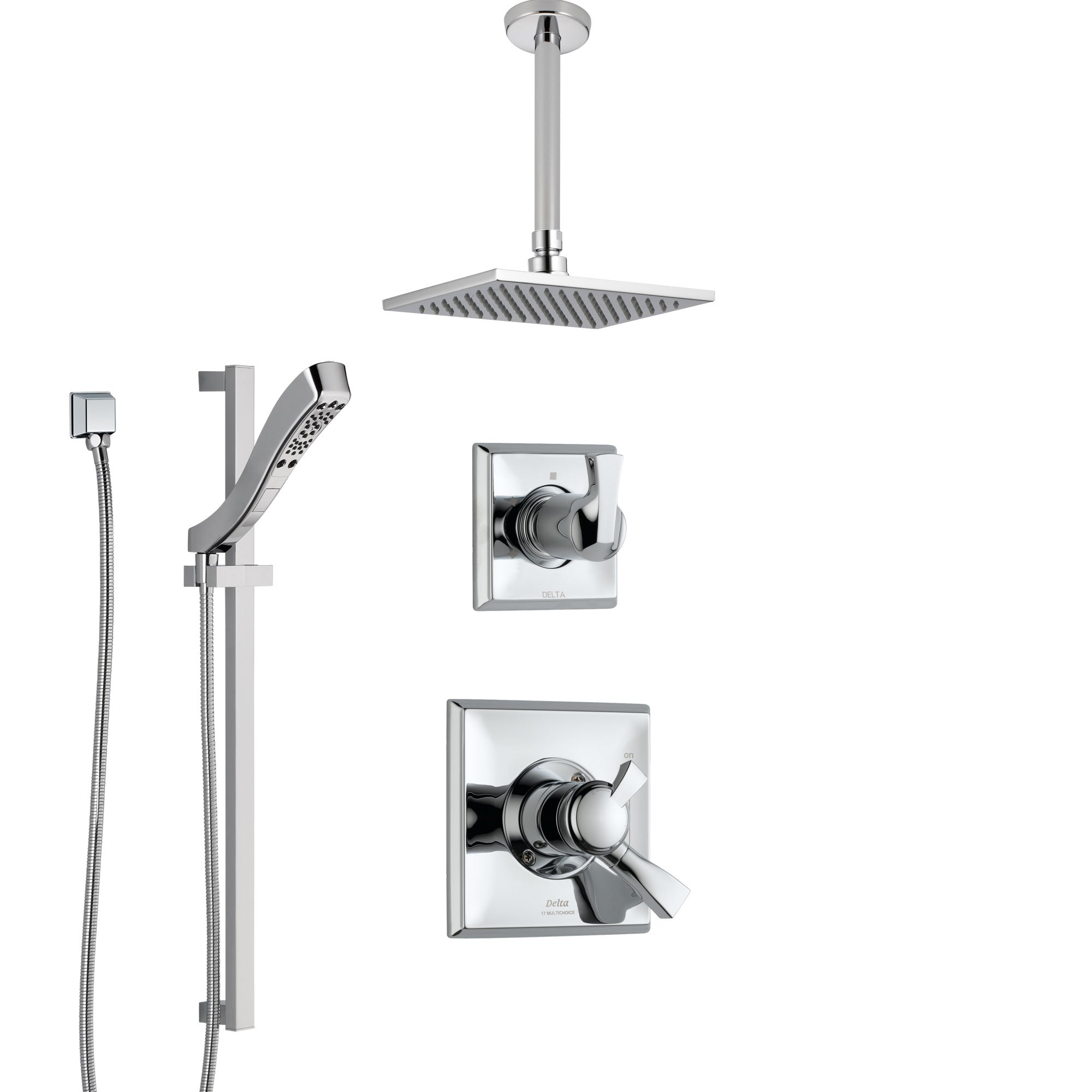 Delta Dryden Chrome Finish Shower System with Dual Control Handle, 3-Setting Diverter, Ceiling Mount Showerhead, and Hand Shower with Slidebar SS17515