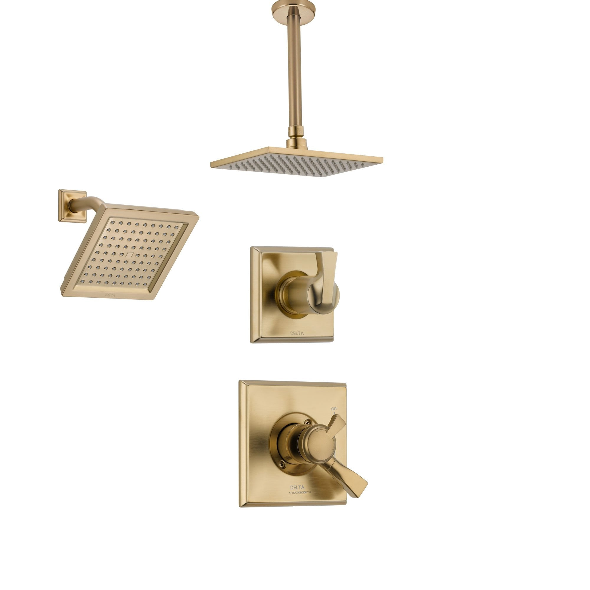 Delta Dryden Champagne Bronze Shower System with Dual Control Shower Handle, 3-setting Diverter, Large Modern Square Shower Head, and Wall Mount Showerhead SS175184CZ