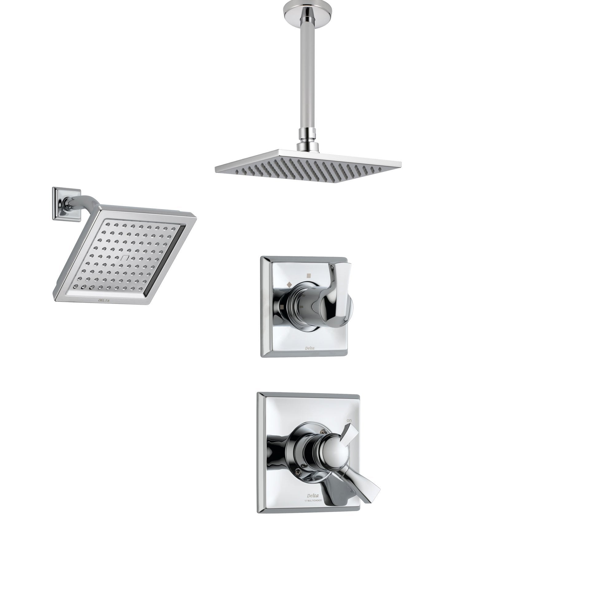 Delta Dryden Chrome Shower System with Dual Control Shower Handle, 3-setting Diverter, Modern Square Ceiling Mount Showerhead, and Wall Mount Showerhead SS175184