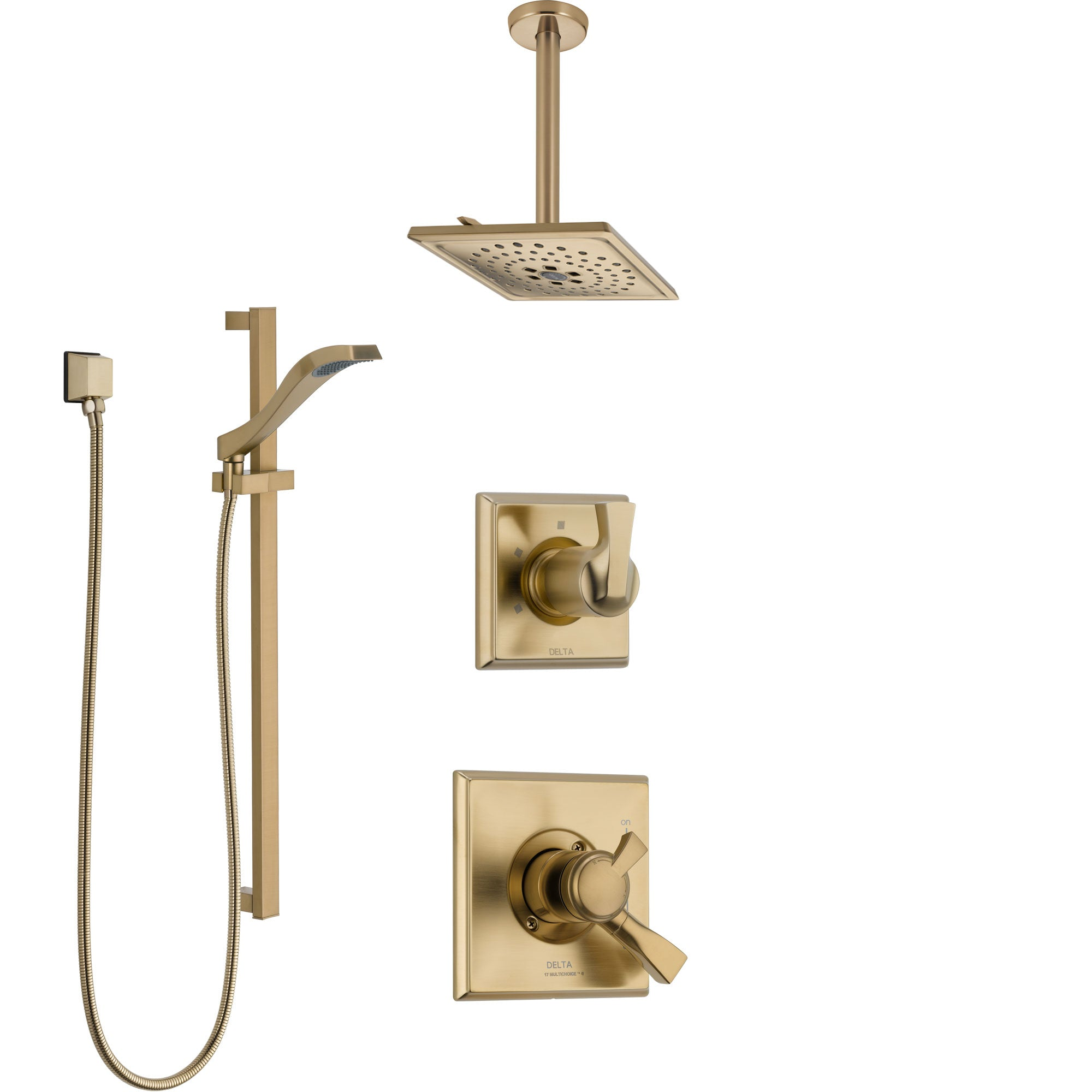Delta Dryden Champagne Bronze Shower System with Dual Control Handle, Diverter, Ceiling Mount Showerhead, and Hand Shower with Slidebar SS1751CZ3