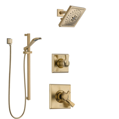 Delta Dryden Champagne Bronze Finish Shower System with Dual Control Handle, 3-Setting Diverter, Showerhead, and Hand Shower with Slidebar SS1751CZ4