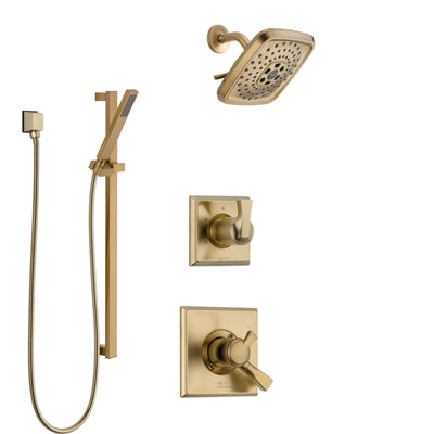 Delta Dryden Champagne Bronze Finish Shower System with Dual Control Handle, 3-Setting Diverter, Showerhead, and Hand Shower with Slidebar SS1751CZ5