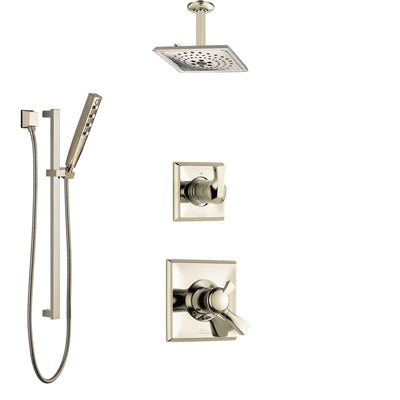 Delta Dryden Polished Nickel Shower System with Dual Control Handle, Diverter, Ceiling Mount Showerhead, and Hand Shower with Slidebar SS1751PN4