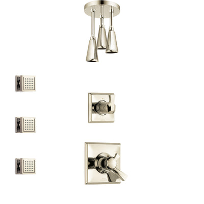 Delta Dryden Polished Nickel Finish Shower System with Dual Control Handle, 3-Setting Diverter, Ceiling Mount Showerhead, and 3 Body Sprays SS1751PN6