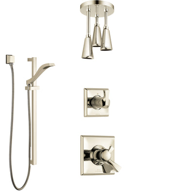Delta Dryden Polished Nickel Shower System with Dual Control Handle, Diverter, Ceiling Mount Showerhead, and Hand Shower with Slidebar SS1751PN7