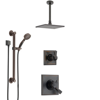 Delta Dryden Venetian Bronze Shower System with Dual Control Handle, Diverter, Ceiling Mount Showerhead, and Hand Shower with Grab Bar SS1751RB1