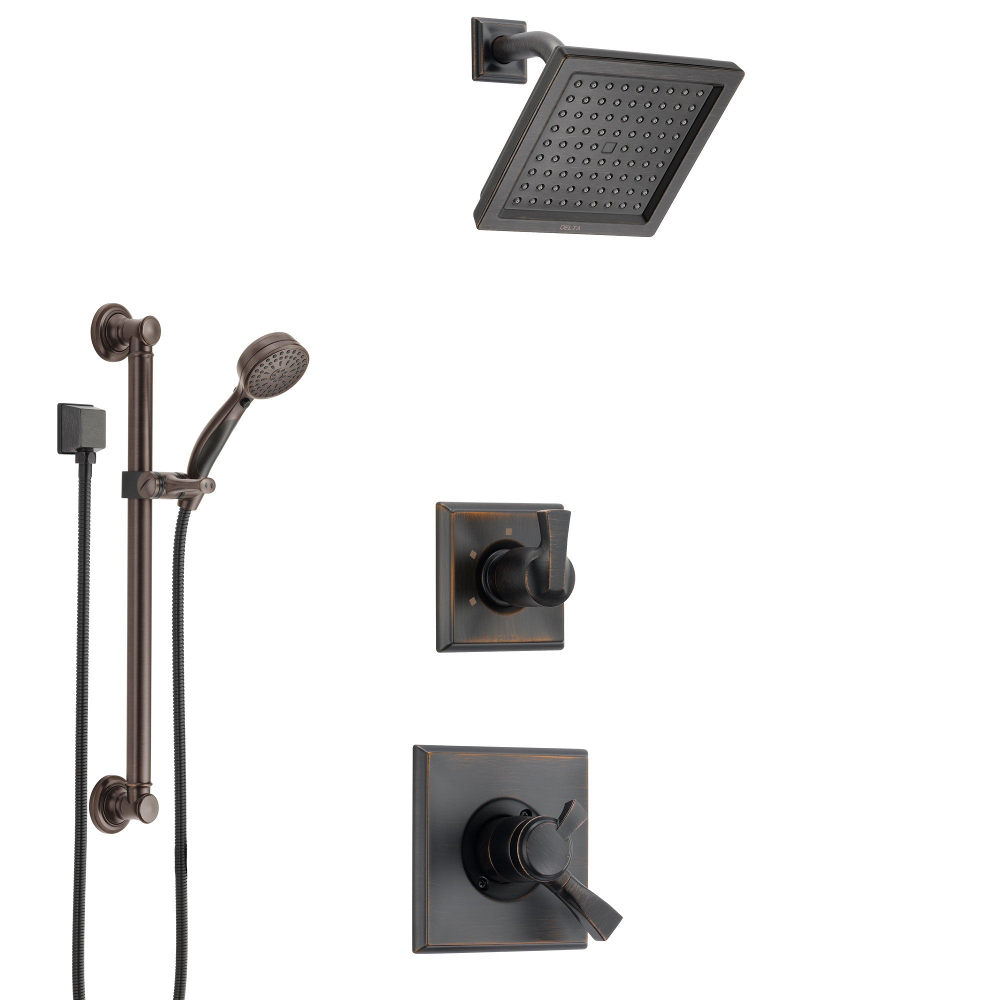 Delta Dryden Venetian Bronze Finish Shower System with Dual Control Handle, 3-Setting Diverter, Showerhead, and Hand Shower with Grab Bar SS1751RB3