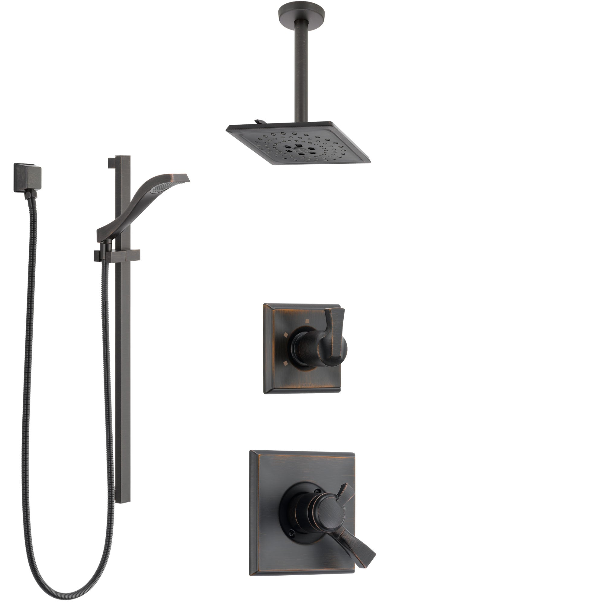 Delta Dryden Venetian Bronze Shower System with Dual Control Handle, Diverter, Ceiling Mount Showerhead, and Hand Shower with Slidebar SS1751RB5