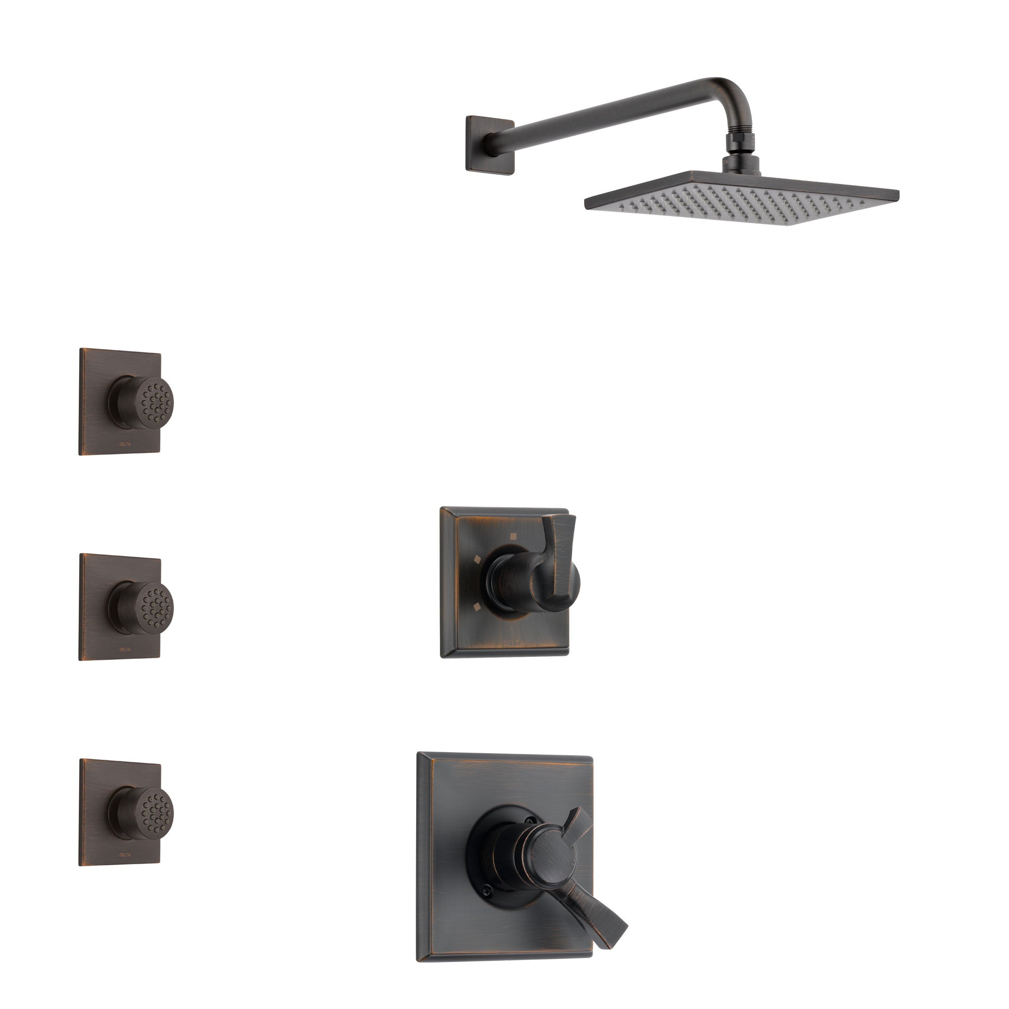 Delta Dryden Venetian Bronze Finish Shower System with Dual Control Handle, 3-Setting Diverter, Showerhead, and 3 Body Sprays SS1751RB7
