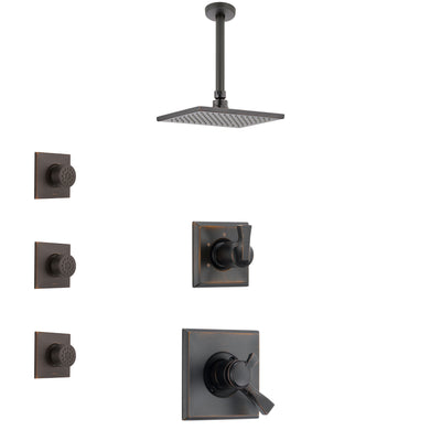 Delta Dryden Venetian Bronze Finish Shower System with Dual Control Handle, 3-Setting Diverter, Ceiling Mount Showerhead, and 3 Body Sprays SS1751RB8