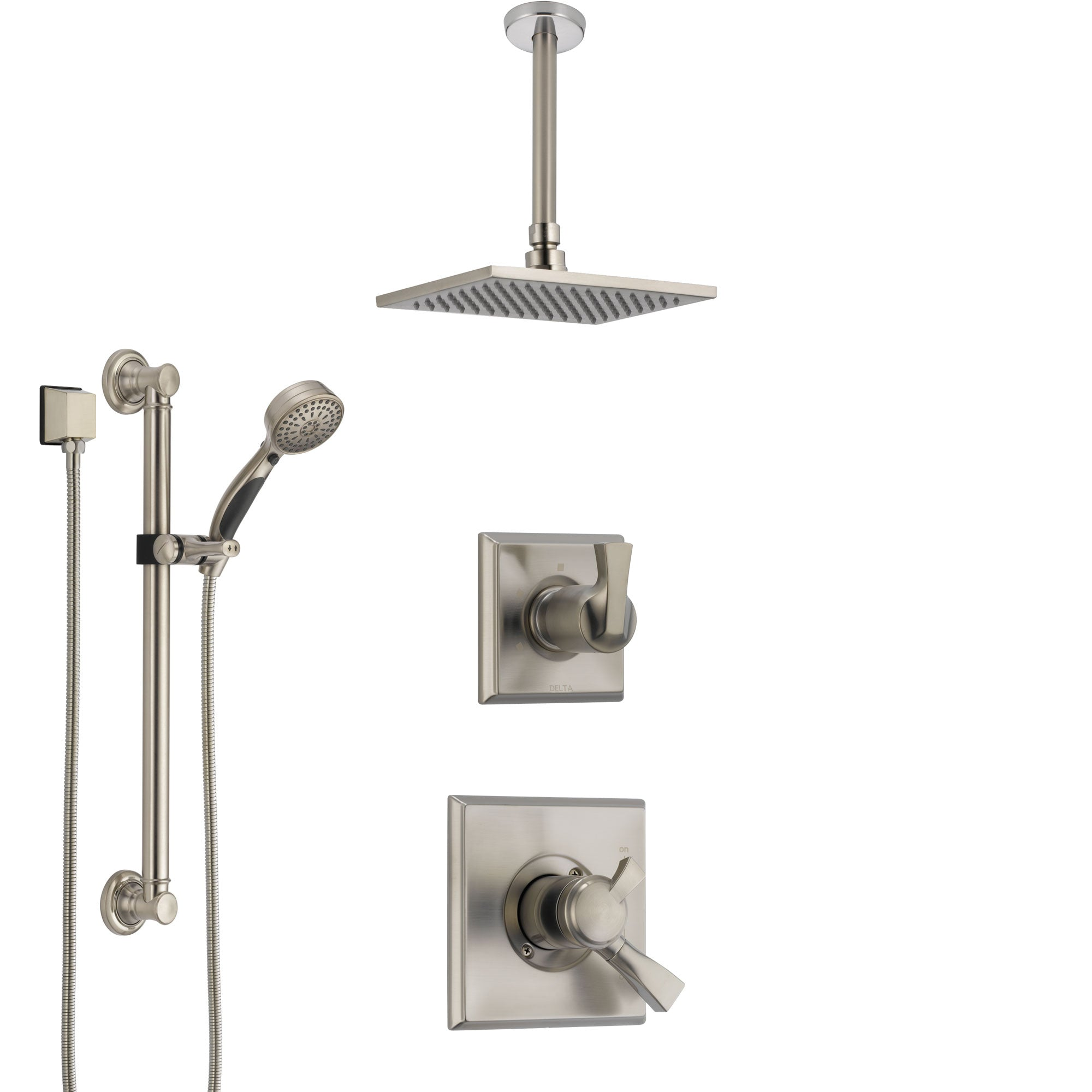 Delta Dryden Dual Control Handle Stainless Steel Finish Shower System, Diverter, Ceiling Mount Showerhead, and Hand Shower with Grab Bar SS1751SS2