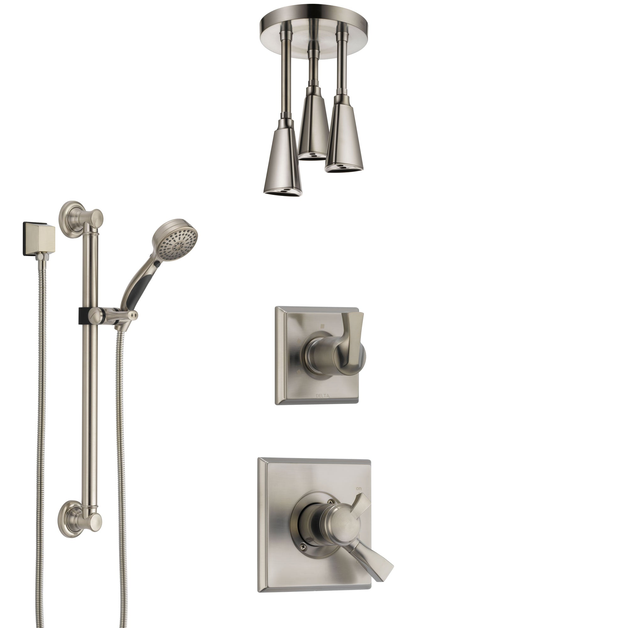 Delta Dryden Dual Control Handle Stainless Steel Finish Shower System, Diverter, Ceiling Mount Showerhead, and Hand Shower with Grab Bar SS1751SS3
