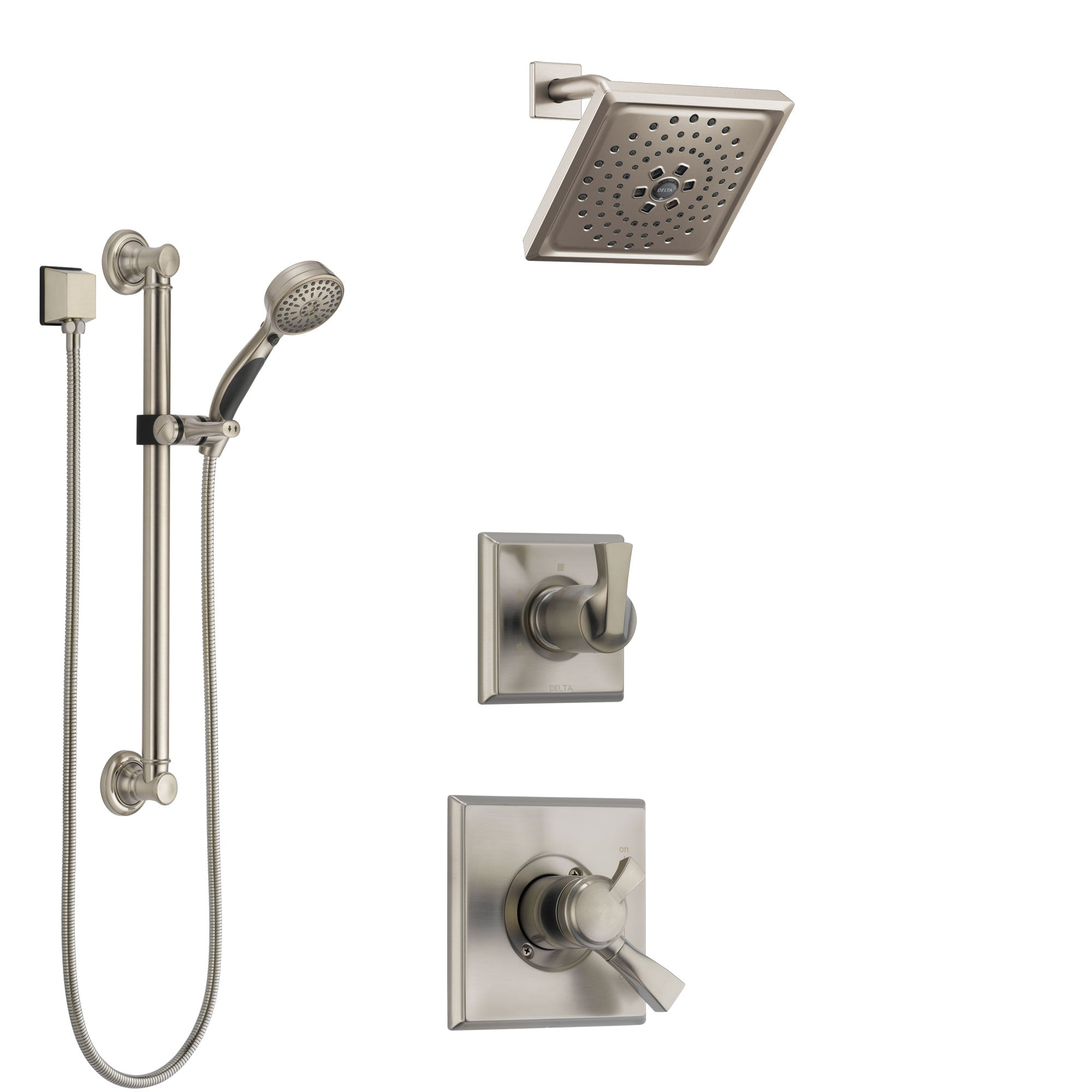 Delta Dryden Stainless Steel Finish Shower System with Dual Control Handle, 3-Setting Diverter, Showerhead, and Hand Shower with Grab Bar SS1751SS4