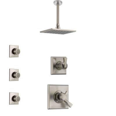 Delta Dryden Stainless Steel Finish Shower System with Dual Control Handle, 3-Setting Diverter, Ceiling Mount Showerhead, and 3 Body Sprays SS1751SS8