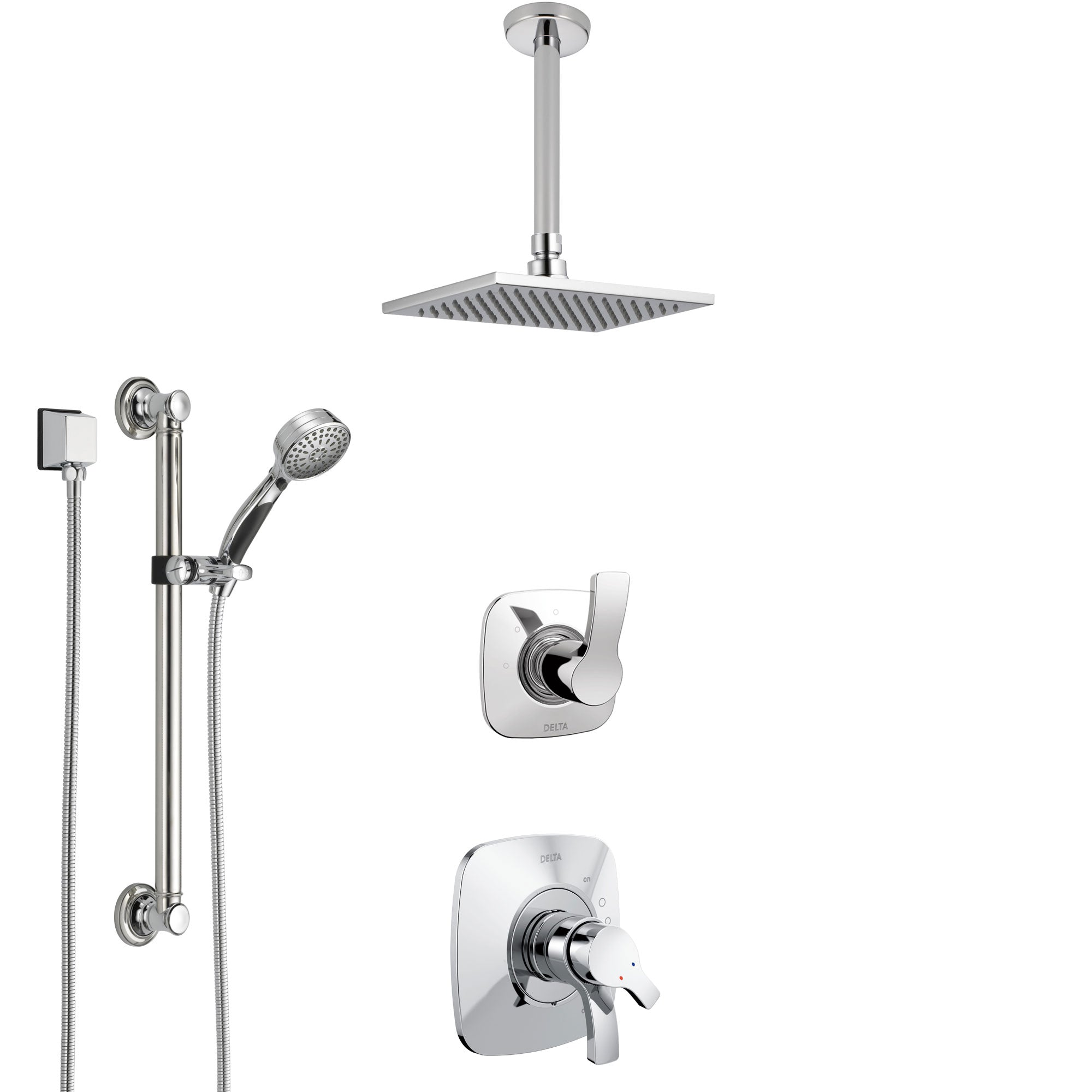 Delta Tesla Chrome Finish Shower System with Dual Control Handle, 3-Setting Diverter, Ceiling Mount Showerhead, and Hand Shower with Grab Bar SS17521