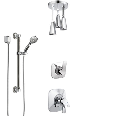 Delta Tesla Chrome Finish Shower System with Dual Control Handle, 3-Setting Diverter, Ceiling Mount Showerhead, and Hand Shower with Grab Bar SS17525