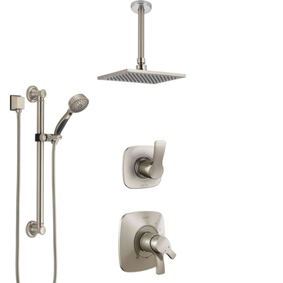 Delta Tesla Stainless Steel Finish Shower System with Dual Control Handle, Diverter, Ceiling Mount Showerhead, and Hand Shower with Grab Bar SS1752SS1