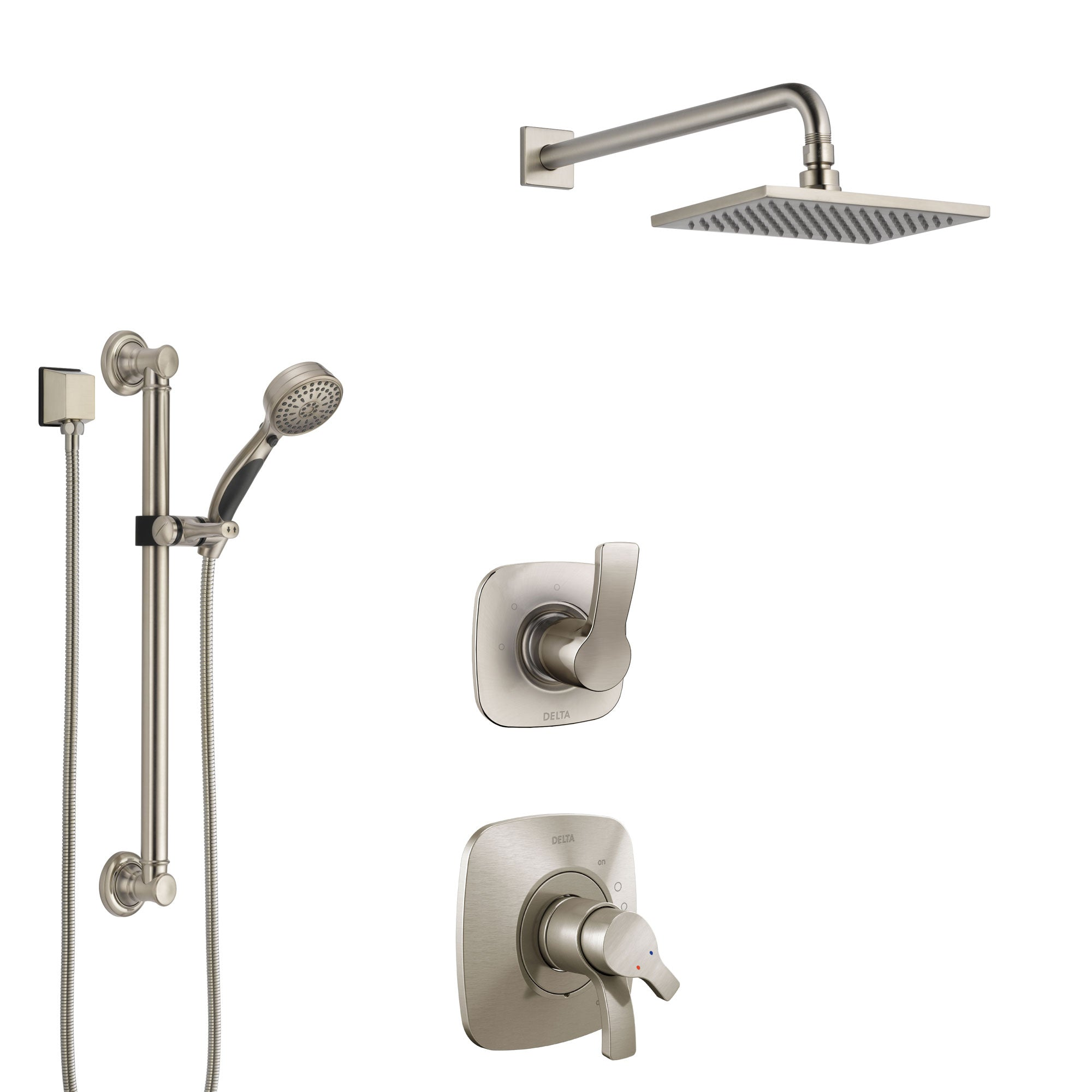 Delta Tesla Stainless Steel Finish Shower System with Dual Control Handle, 3-Setting Diverter, Showerhead, and Hand Shower with Grab Bar SS1752SS2