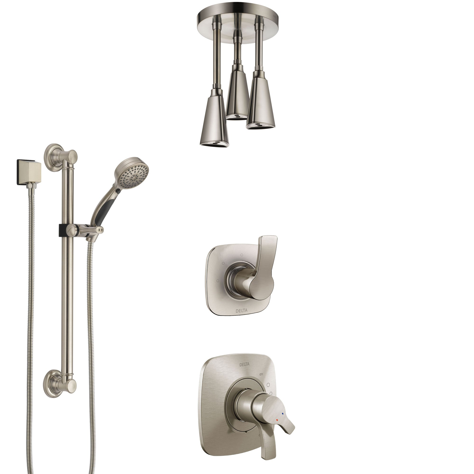 Delta Tesla Stainless Steel Finish Shower System with Dual Control Handle, Diverter, Ceiling Mount Showerhead, and Hand Shower with Grab Bar SS1752SS3