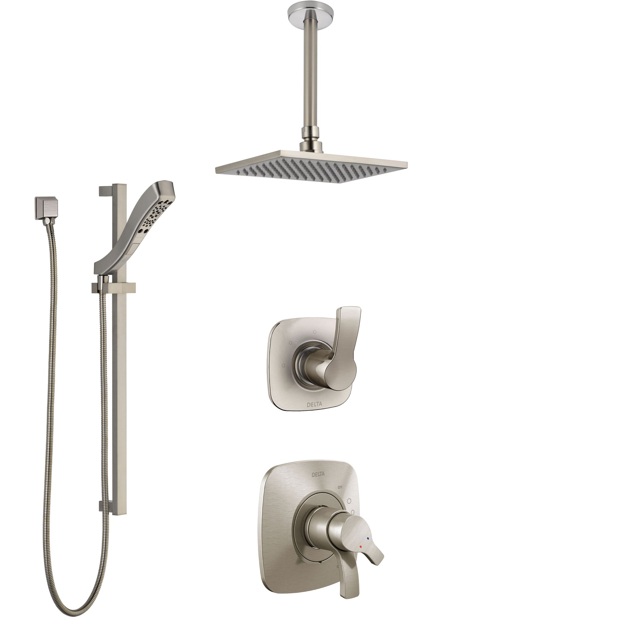 Delta Tesla Stainless Steel Finish Shower System with Dual Control Handle, Diverter, Ceiling Mount Showerhead, and Hand Shower with Slidebar SS1752SS5