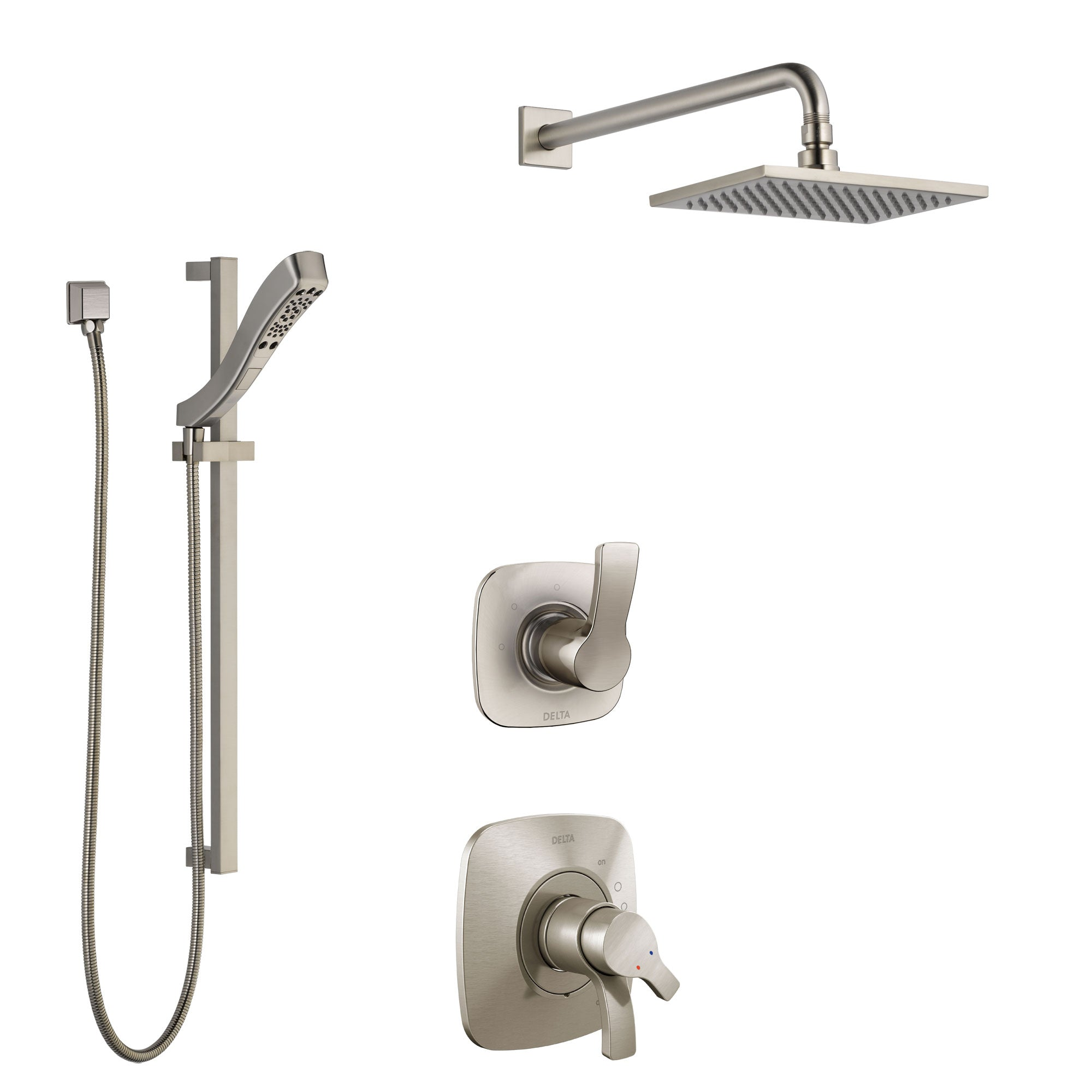 Delta Tesla Stainless Steel Finish Shower System with Dual Control Handle, 3-Setting Diverter, Showerhead, and Hand Shower with Slidebar SS1752SS6