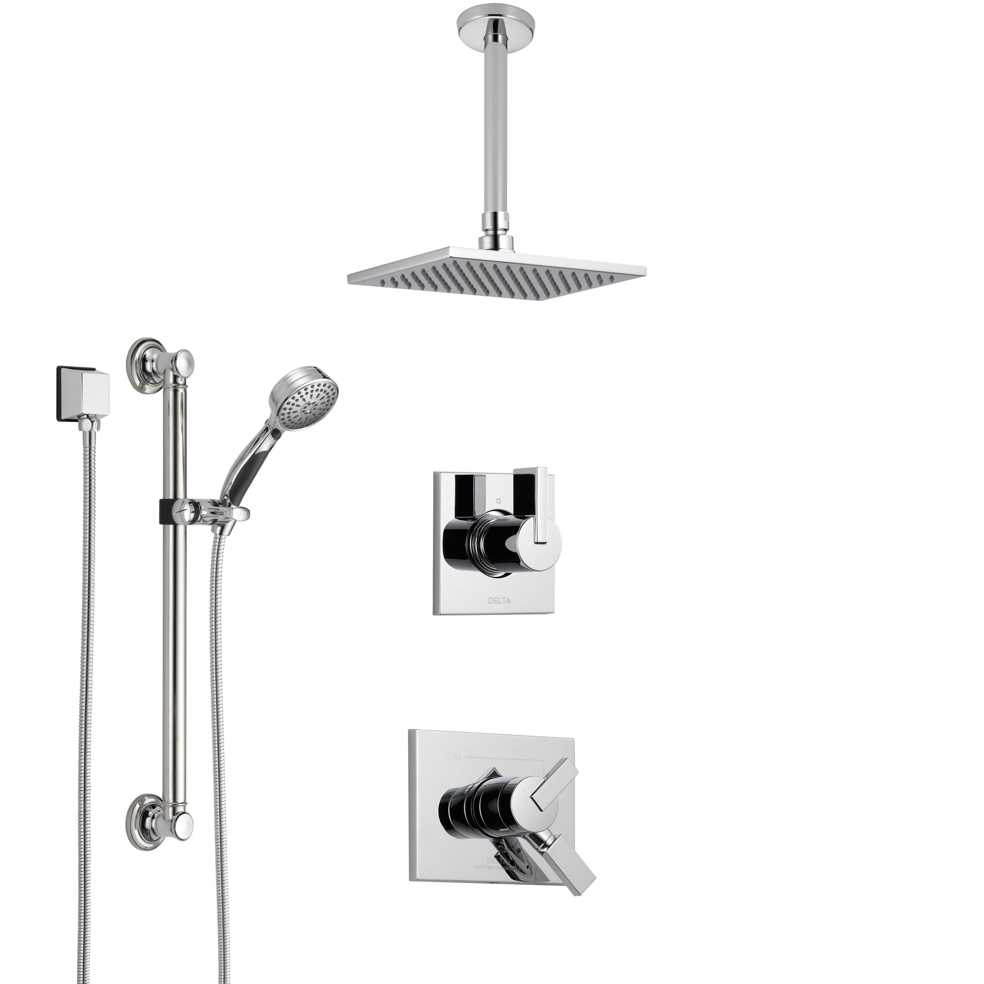 Delta Vero Chrome Finish Shower System with Dual Control Handle, 3-Setting Diverter, Ceiling Mount Showerhead, and Hand Shower with Grab Bar SS17534