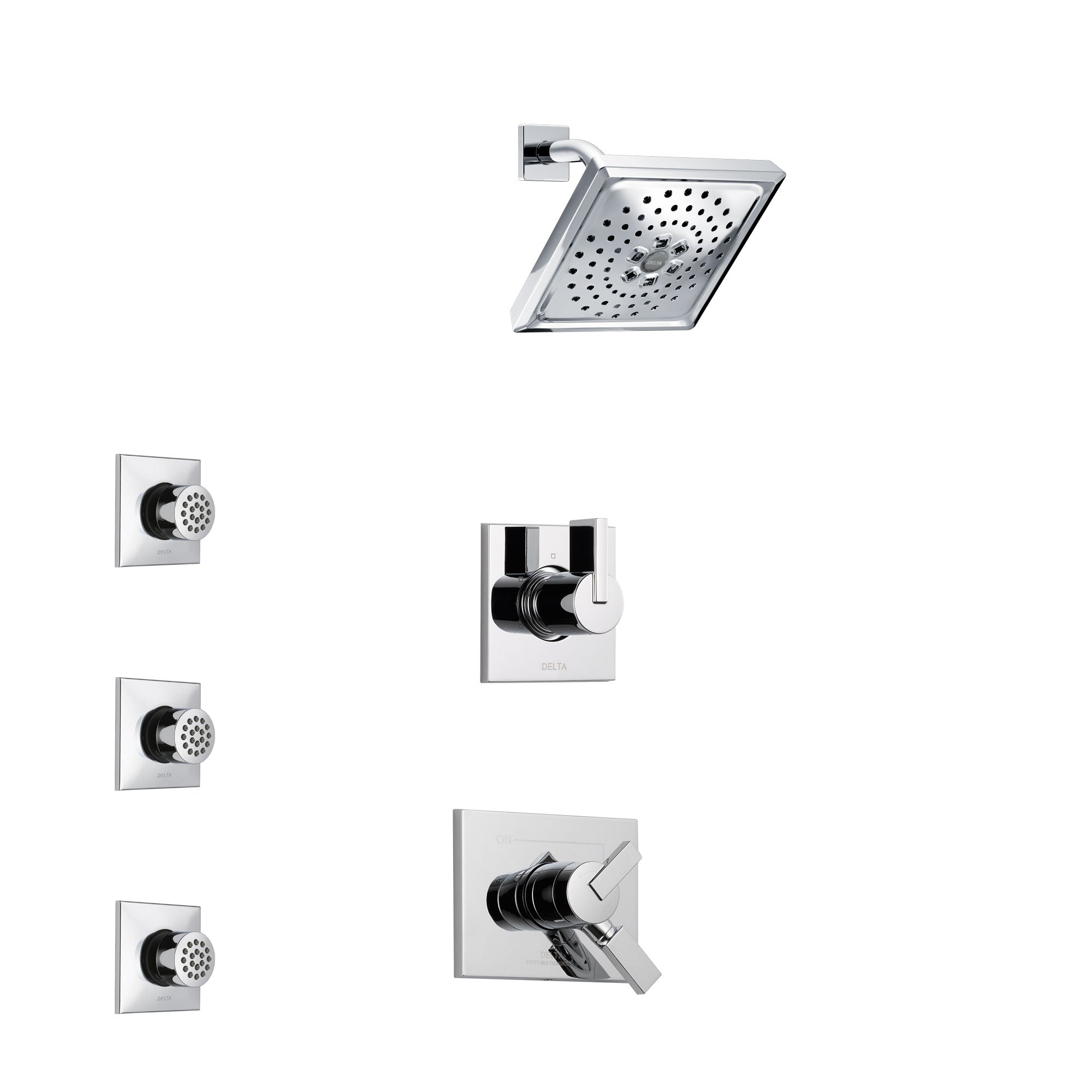 Delta Vero Chrome Finish Shower System with Dual Control Handle, 3-Setting Diverter, Showerhead, and 3 Body Sprays SS17536