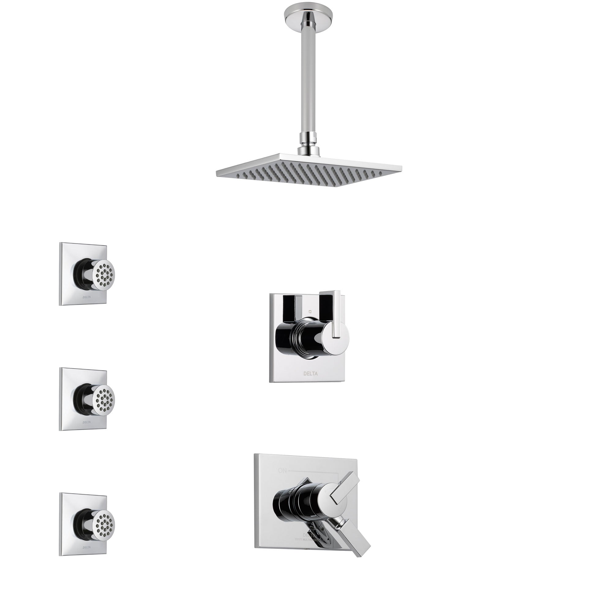 Delta Vero Chrome Finish Shower System with Dual Control Handle, 3-Setting Diverter, Ceiling Mount Showerhead, and 3 Body Sprays SS17537