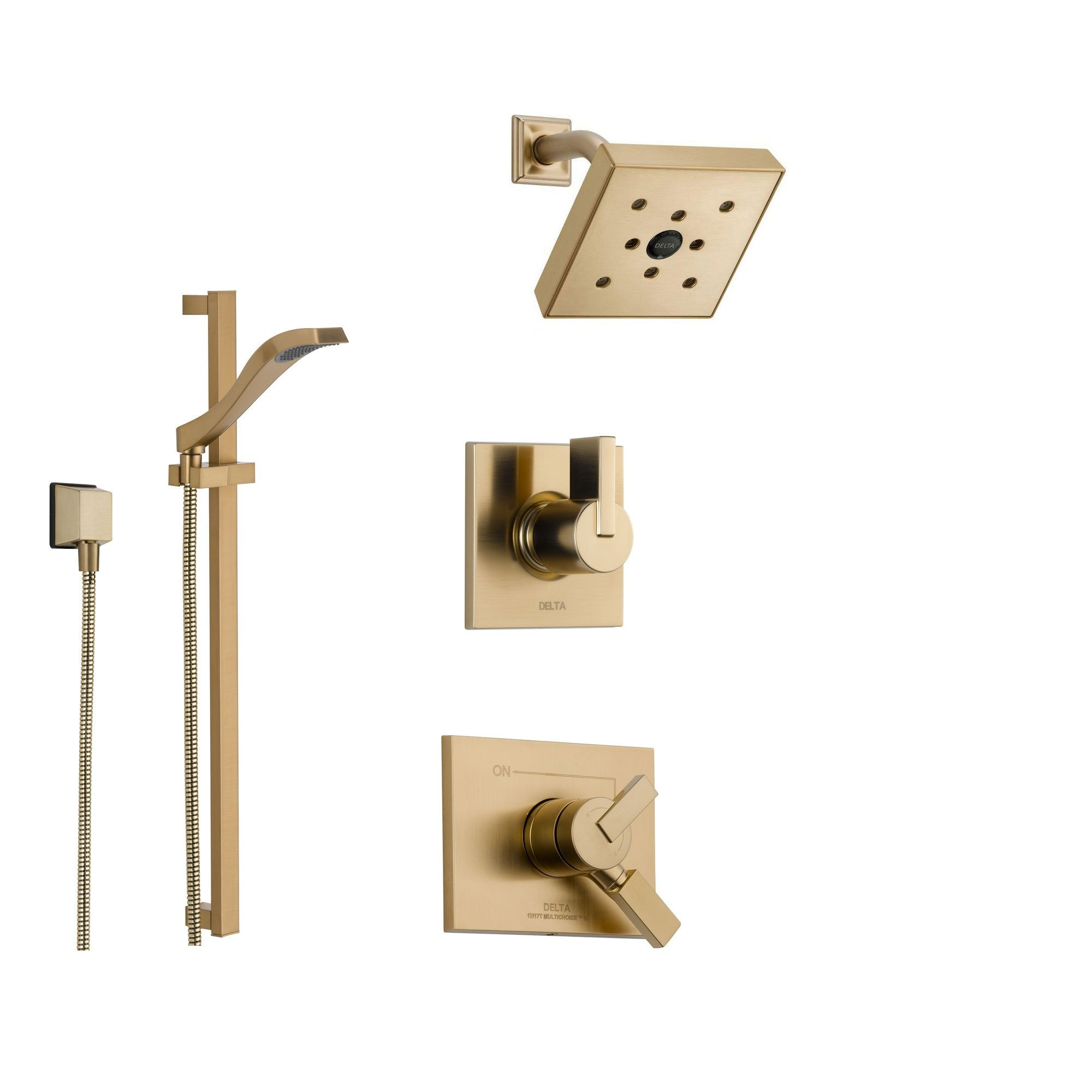 Delta Vero Champagne Bronze Shower System with Dual Control Shower Handle, 3-setting Diverter, Modern Square Showerhead, and Handheld Shower SS175381CZ