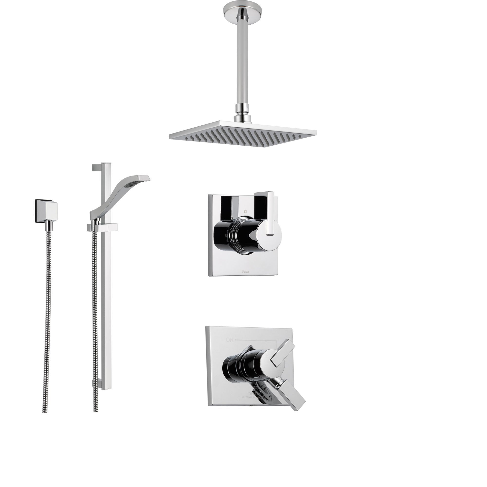 Delta Vero Chrome Shower System With Dual Control Shower Handle 3 Setting Diverter Large Square Rain Showerhead And Hand Held Shower Ss175383