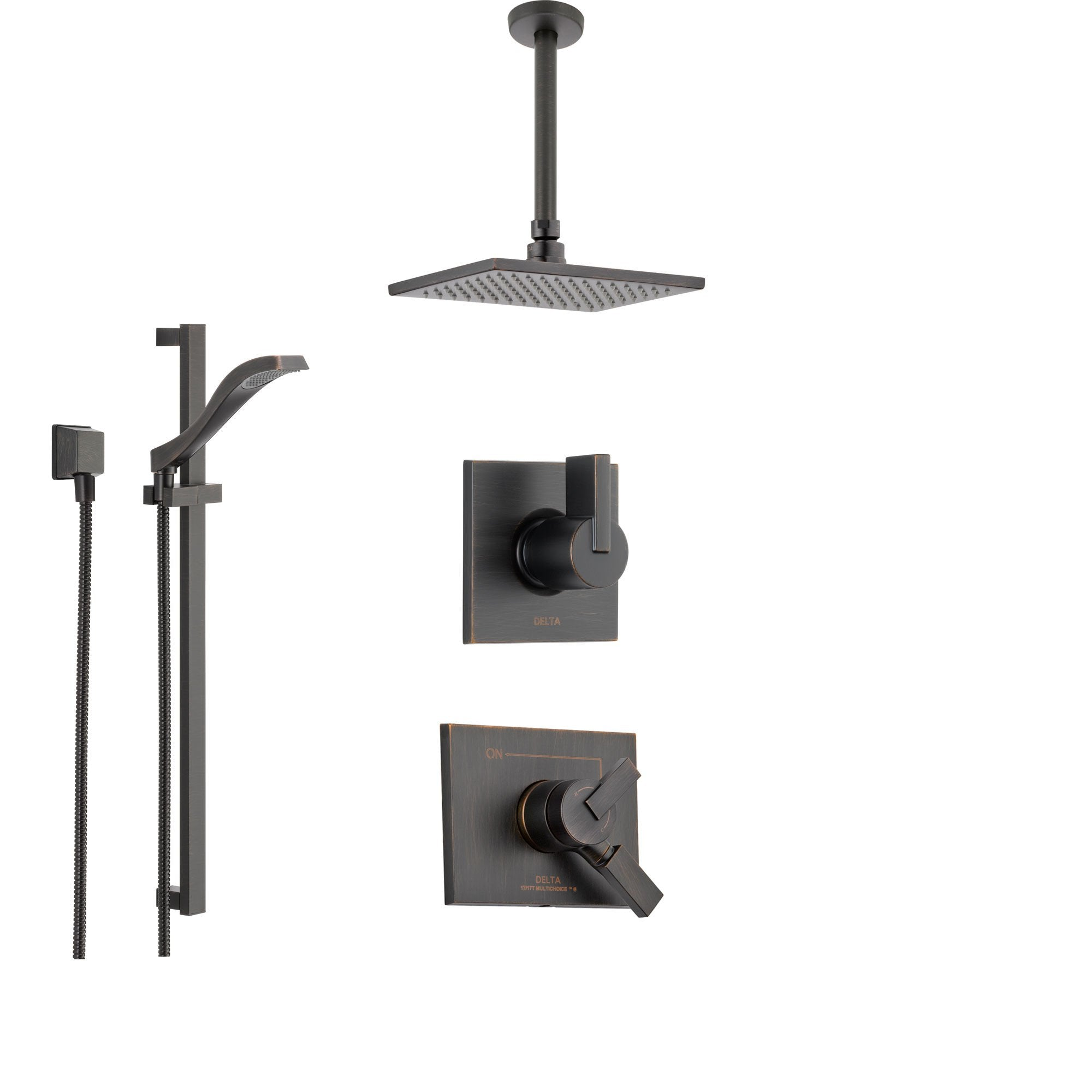 Delta Vero Venetian Bronze Shower System With Dual Control Shower Handle 3 Setting Diverter Modern Square Ceiling Mount Rain Showerhead And