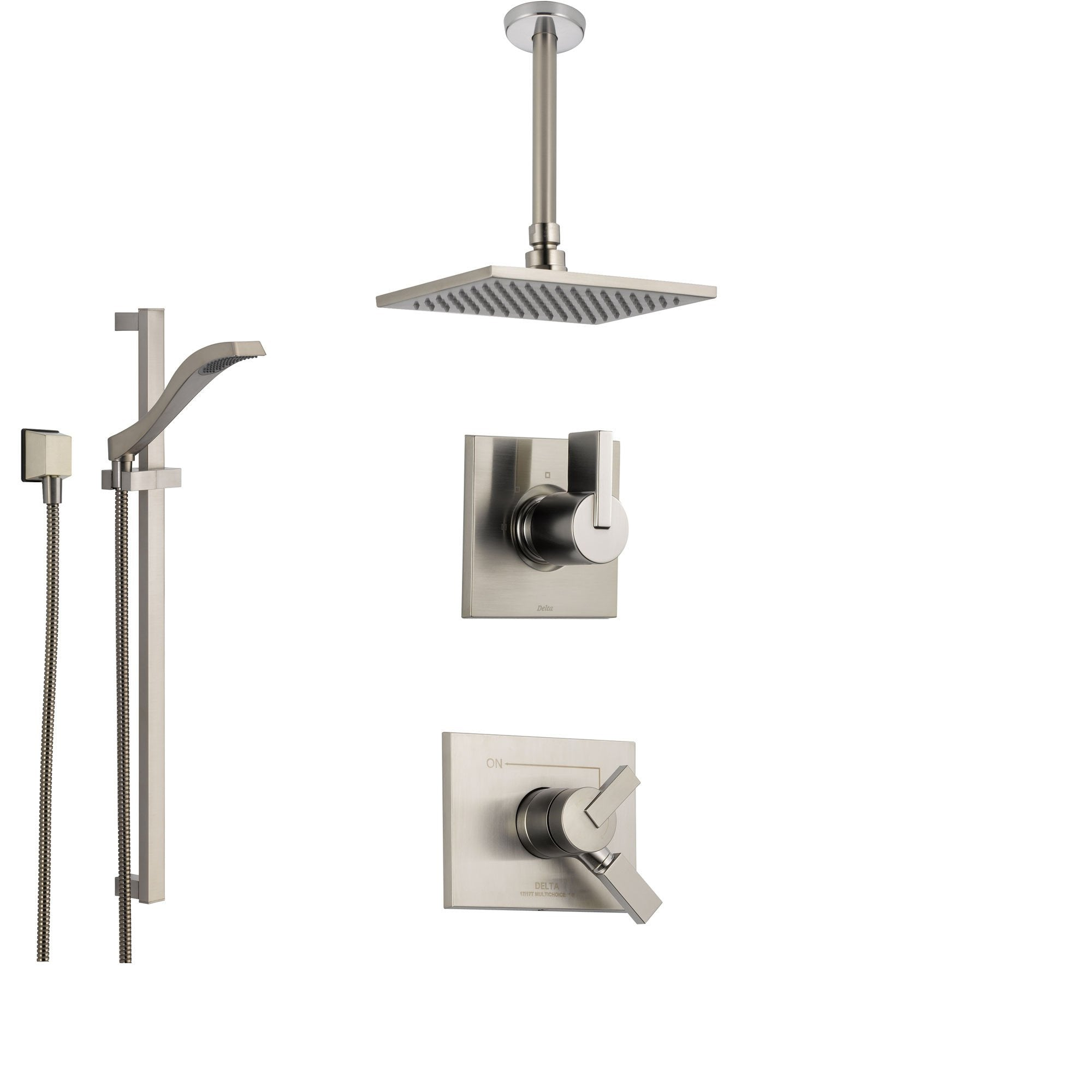 Delta Vero Stainless Steel Shower System With Dual Control Shower Handle 3 Setting Diverter Large Square Ceiling Mount Showerhead And Handheld