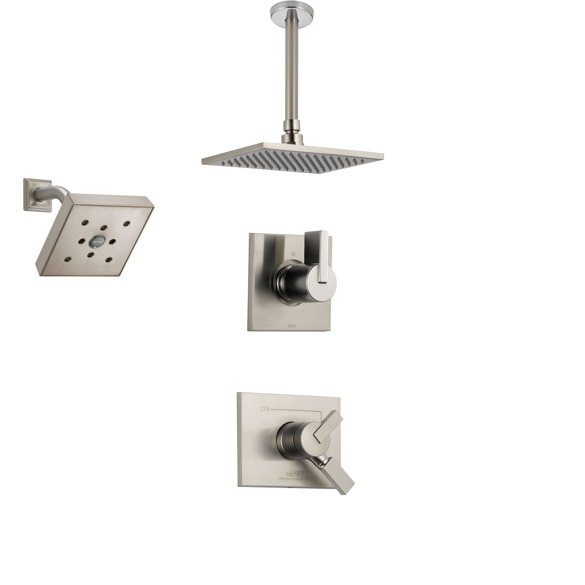 Delta Vero Stainless Steel Shower System with Dual Control Shower Handle, 3-setting Diverter, Large Square Ceiling Mount Showerhead, and Wall Mount Showerhead SS175384SS