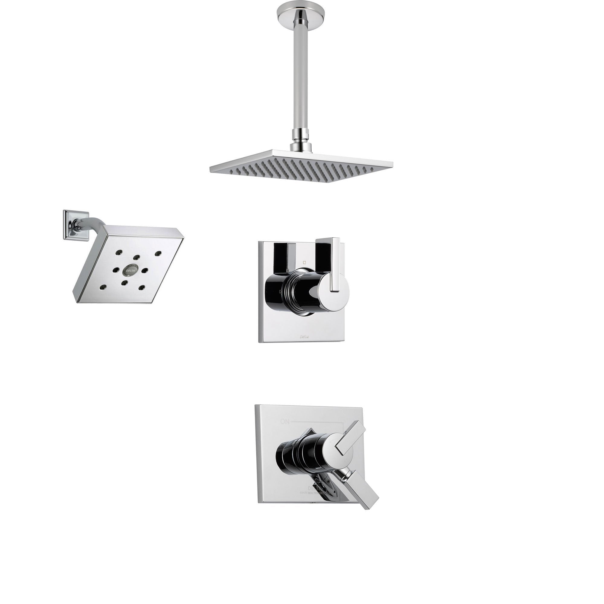Delta Vero Chrome Shower System with Dual Control Shower Handle, 3-setting Diverter, Modern Square Showerhead, and Large Ceiling Mount Rain Showerhead SS175384