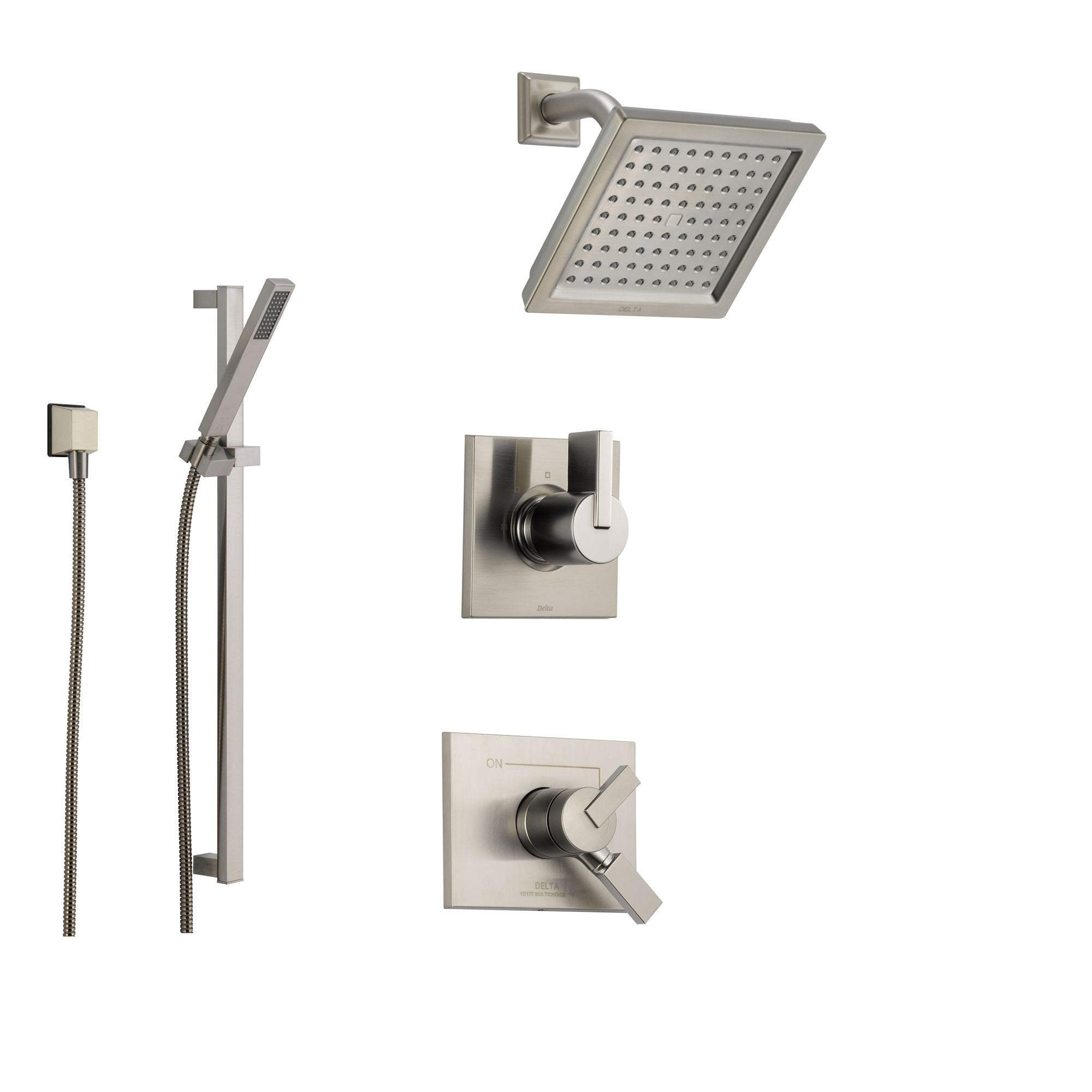 Delta Vero Stainless Steel Shower System with Dual Control Shower Handle, 3-setting Diverter, Square Showerhead, and Modern Handheld Shower SS175385SS
