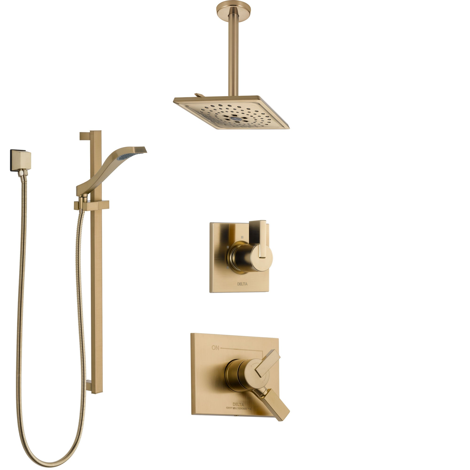 Delta Vero Champagne Bronze Shower System with Dual Control Handle, Diverter, Ceiling Mount Showerhead, and Hand Shower with Slidebar SS1753CZ1