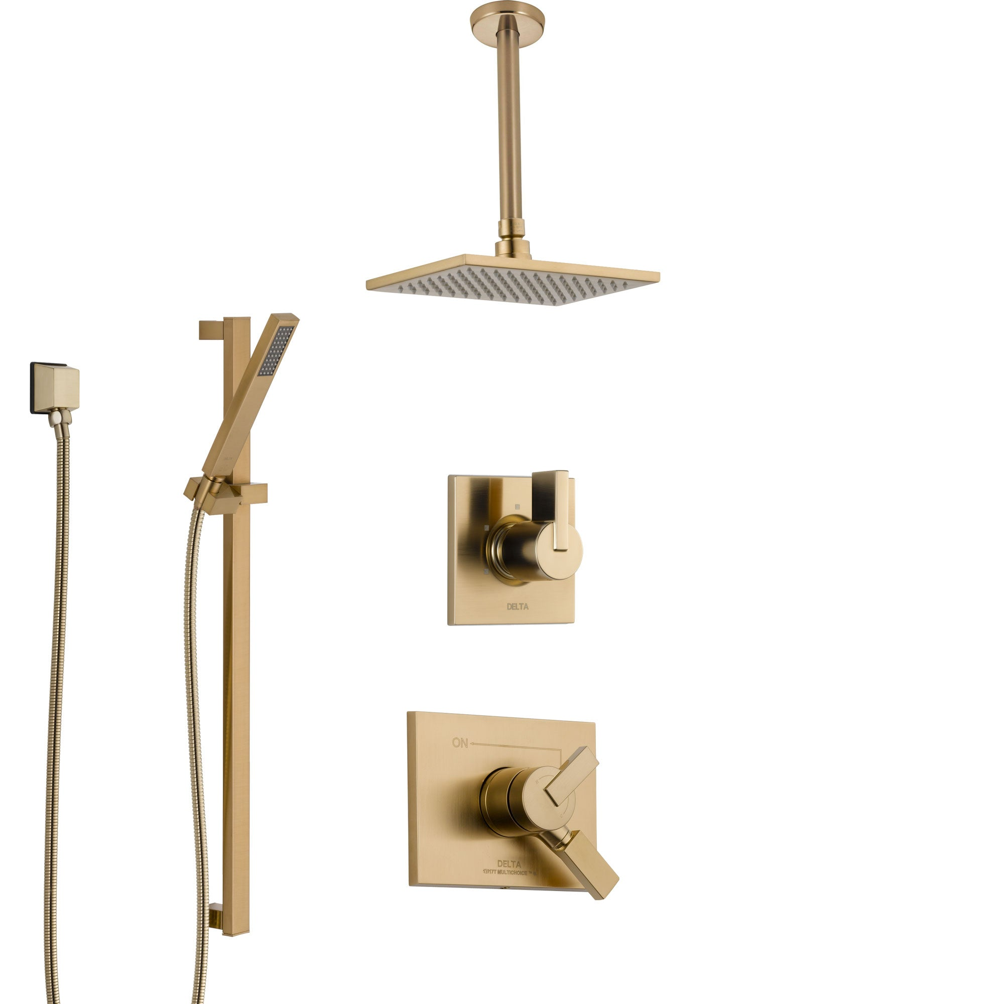 Delta Vero Champagne Bronze Shower System with Dual Control Handle, Diverter, Ceiling Mount Showerhead, and Hand Shower with Slidebar SS1753CZ2