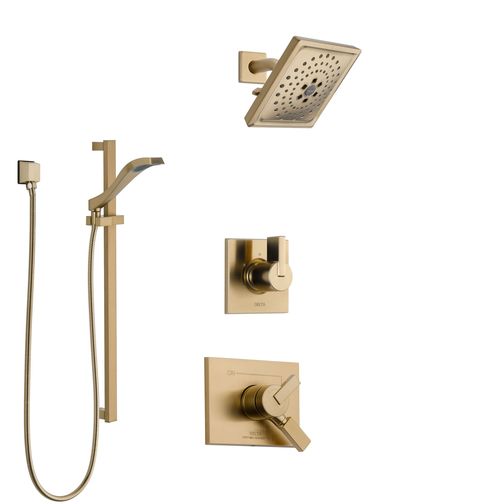 Delta Vero Champagne Bronze Finish Shower System with Dual Control Handle, 3-Setting Diverter, Showerhead, and Hand Shower with Slidebar SS1753CZ4