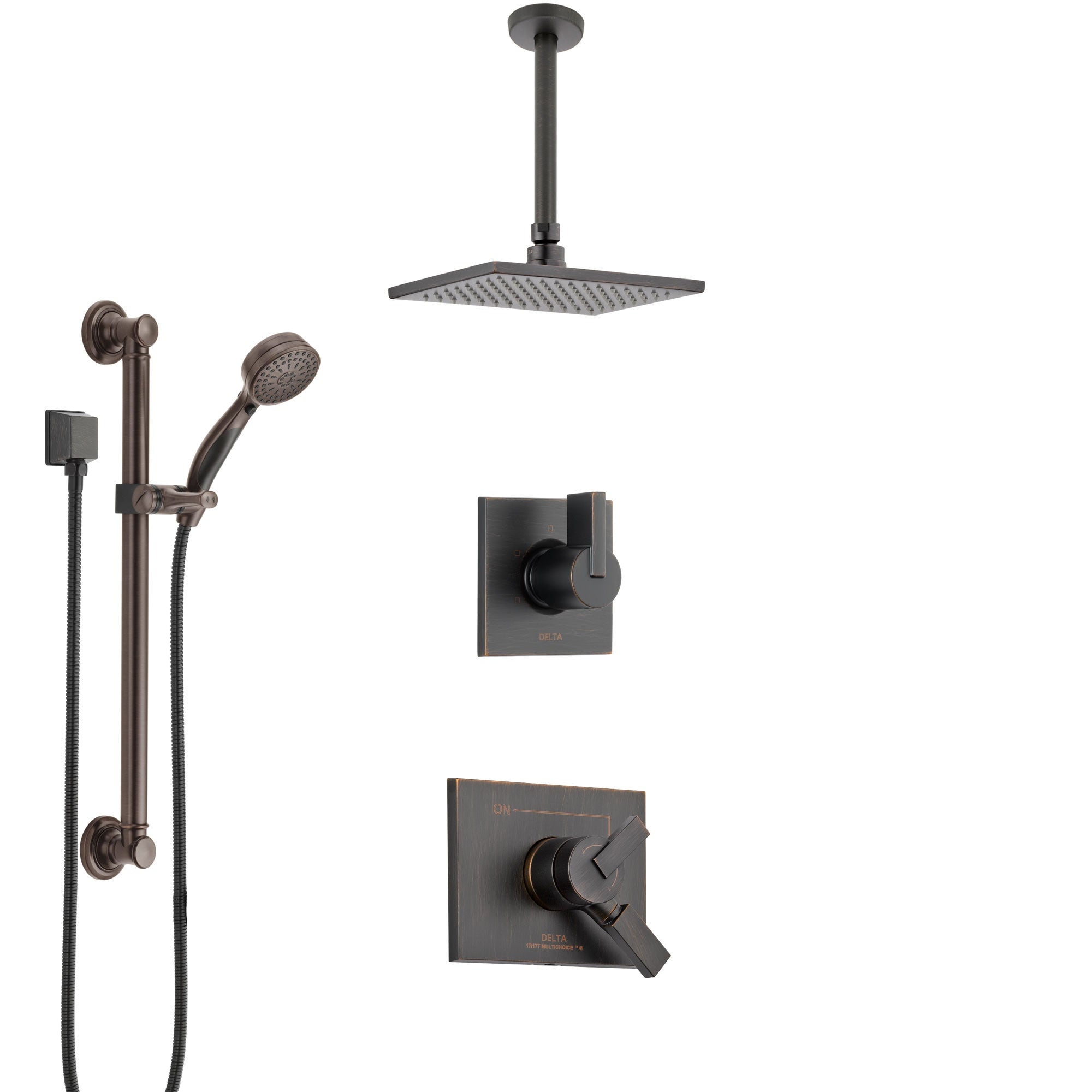 Delta Vero Venetian Bronze Shower System with Dual Control Handle, Diverter, Ceiling Mount Showerhead, and Hand Shower with Grab Bar SS1753RB1